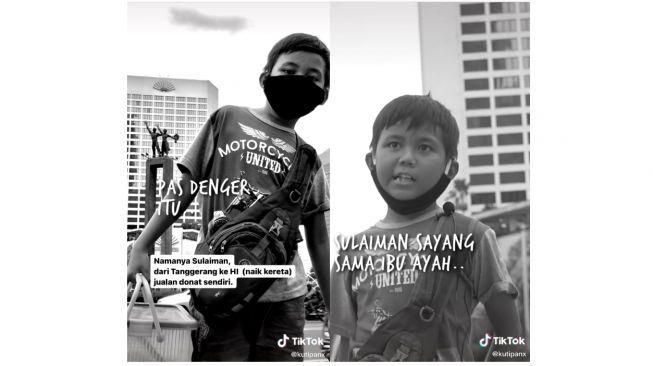 Sulaiman jualan donat dari Tangerang ke Bundaran HI bantu ornagtuanya (tiktok.com/@kutipanx)