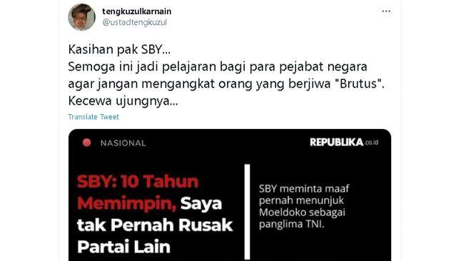 Cuitan Tengku Zul soal SBY dan Moeldoko (Twitter)