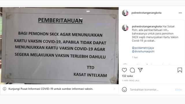 Sertifikat Vaksin Jadi Syarat Urus SKCK di Tangerang, Netizen: Gini Amat Indonesia