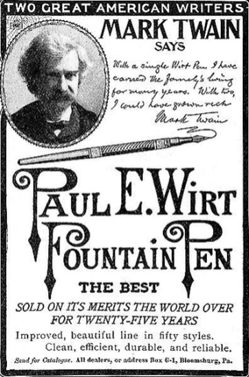 Un anuncio de estilográficas con la imagen de Mark Twain