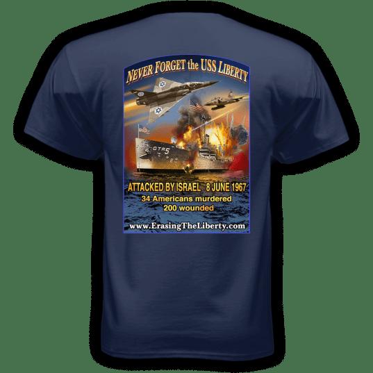 Erasing the Liberty t-shirt navy back