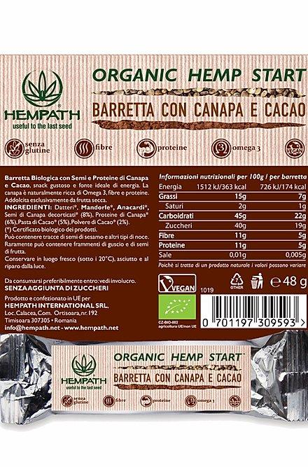 Barretta bio - canapa e cacao ingredienti - Hempath | Erboristeria Erbainfusa Como | Shop Online