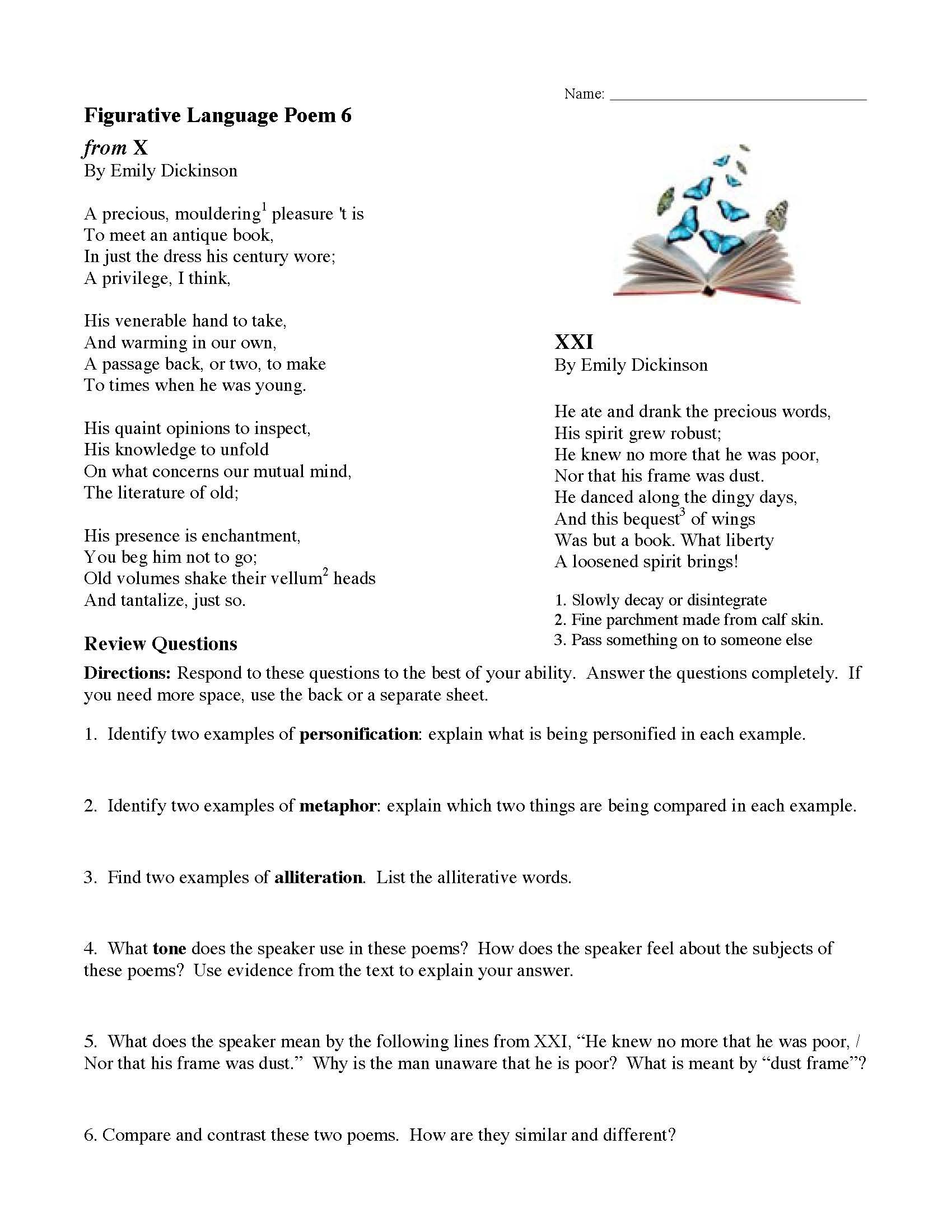 Figurative Language Poem 1 Answer Key