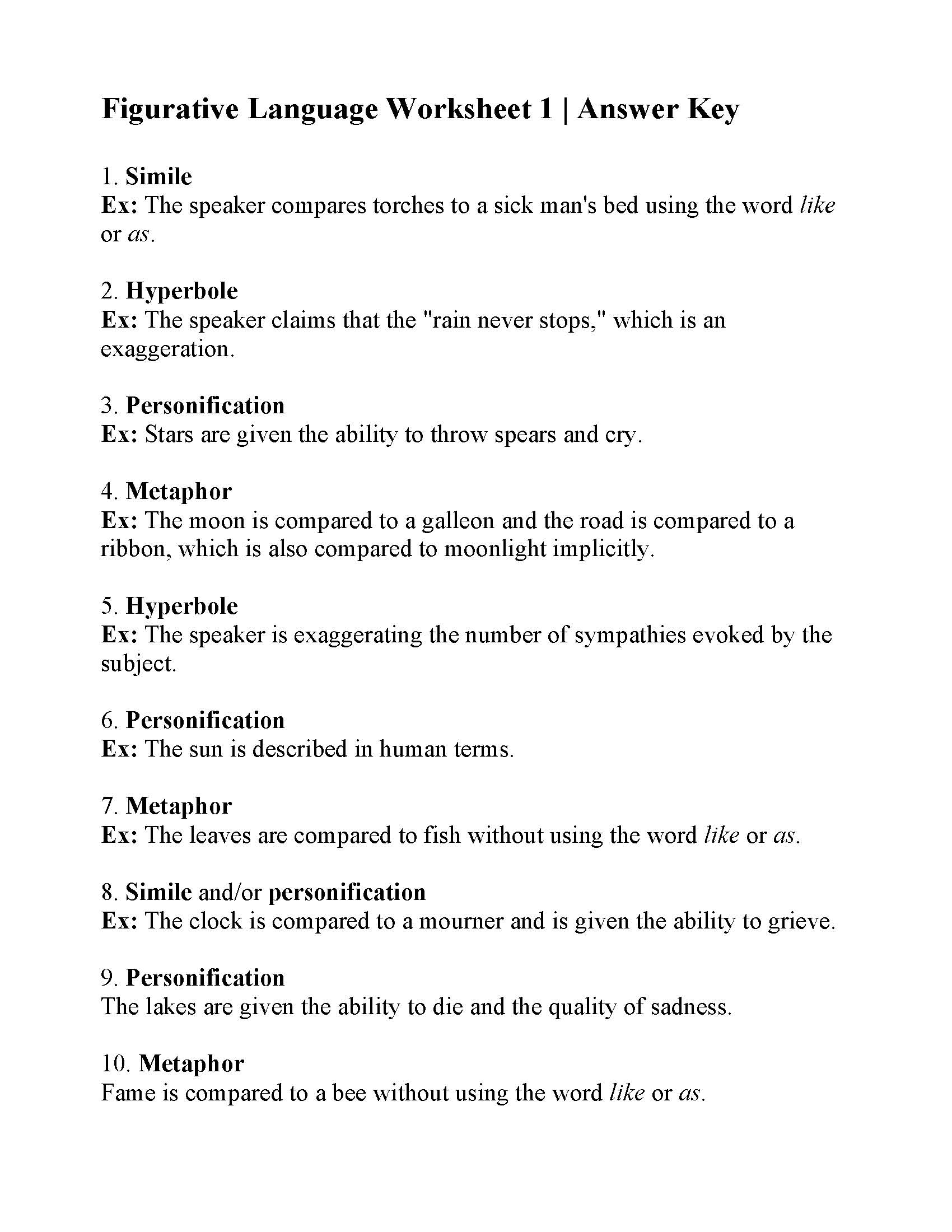 Language Review Worksheet
