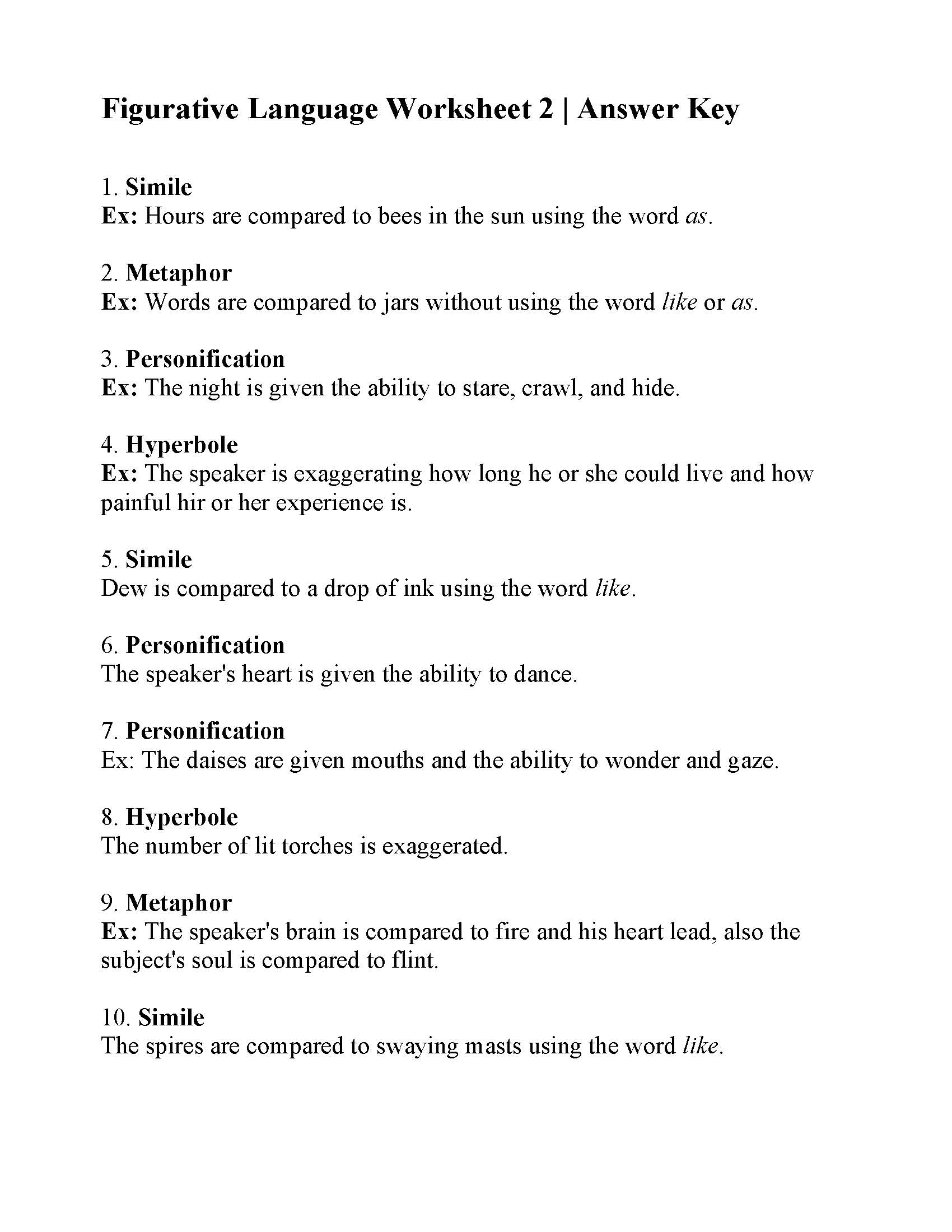 Figurative Language Worksheets 6th Grade