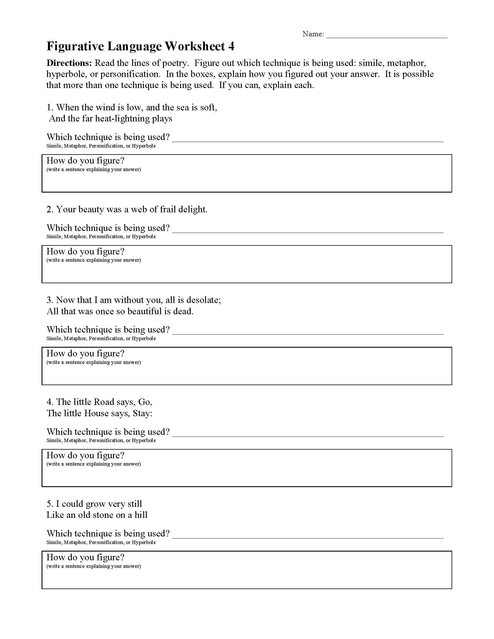 Figurative Language Worksheet 4