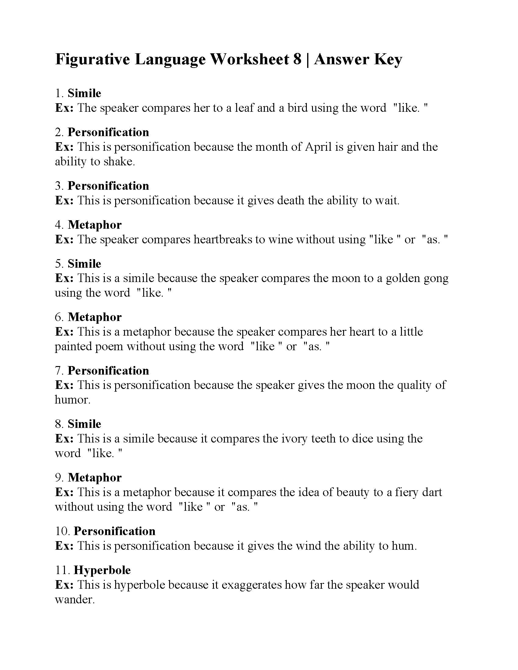 Figurative Language Review Worksheet Answers