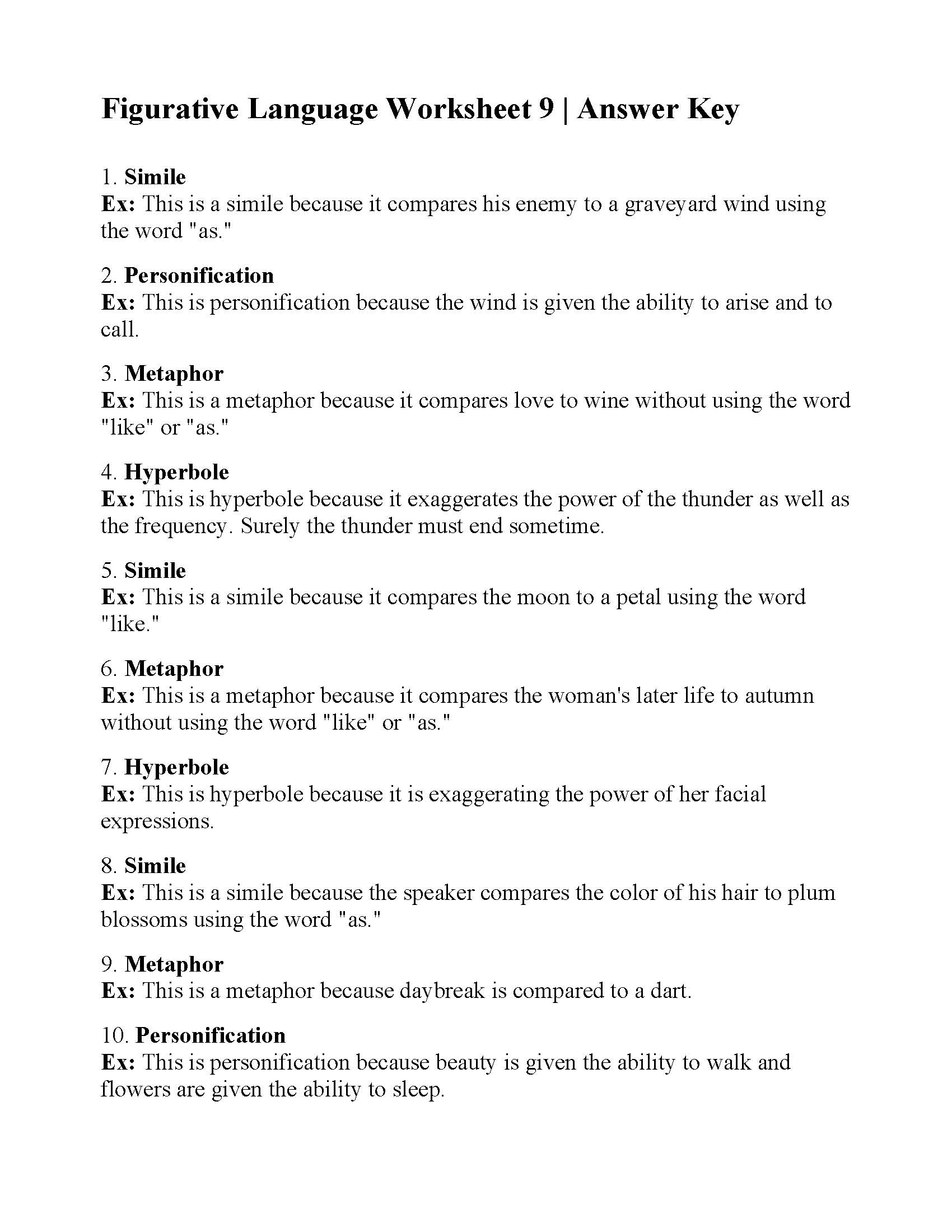 Figurative Language Worksheet 9