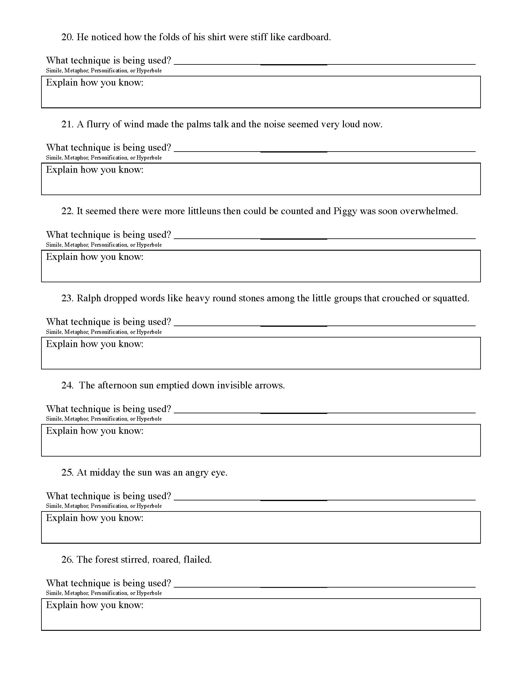 Printables Of Lord Of The Flies Figurative Language