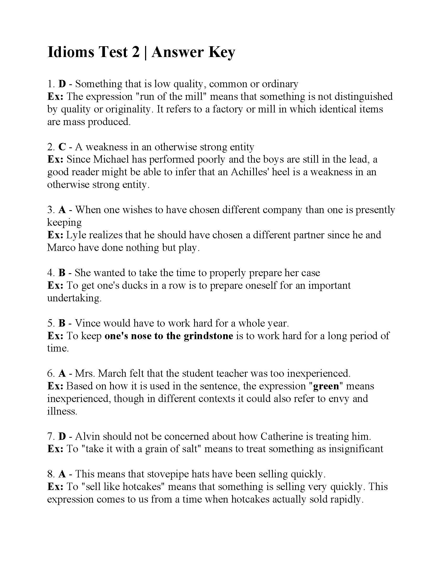 Idioms Test 2