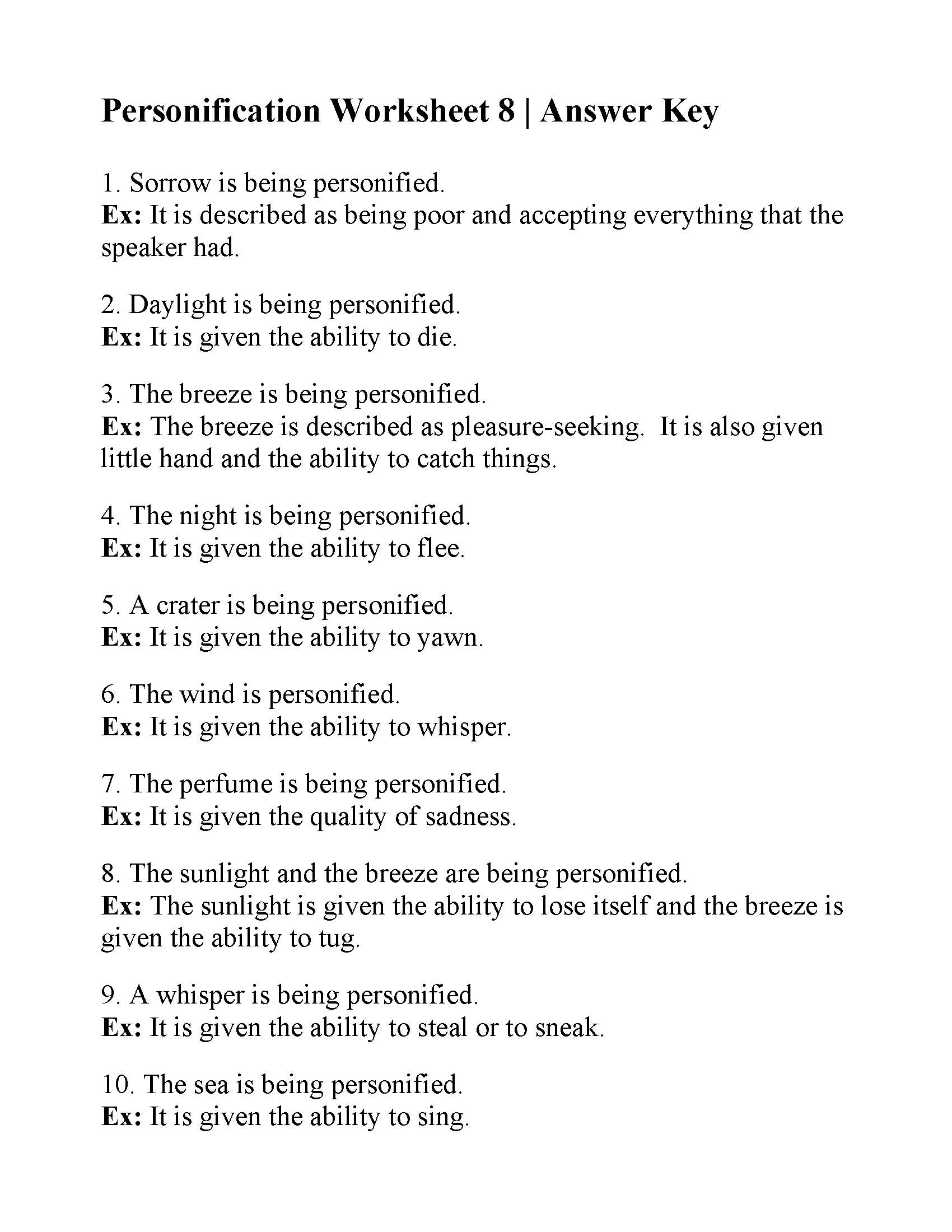 Personification Worksheet 8