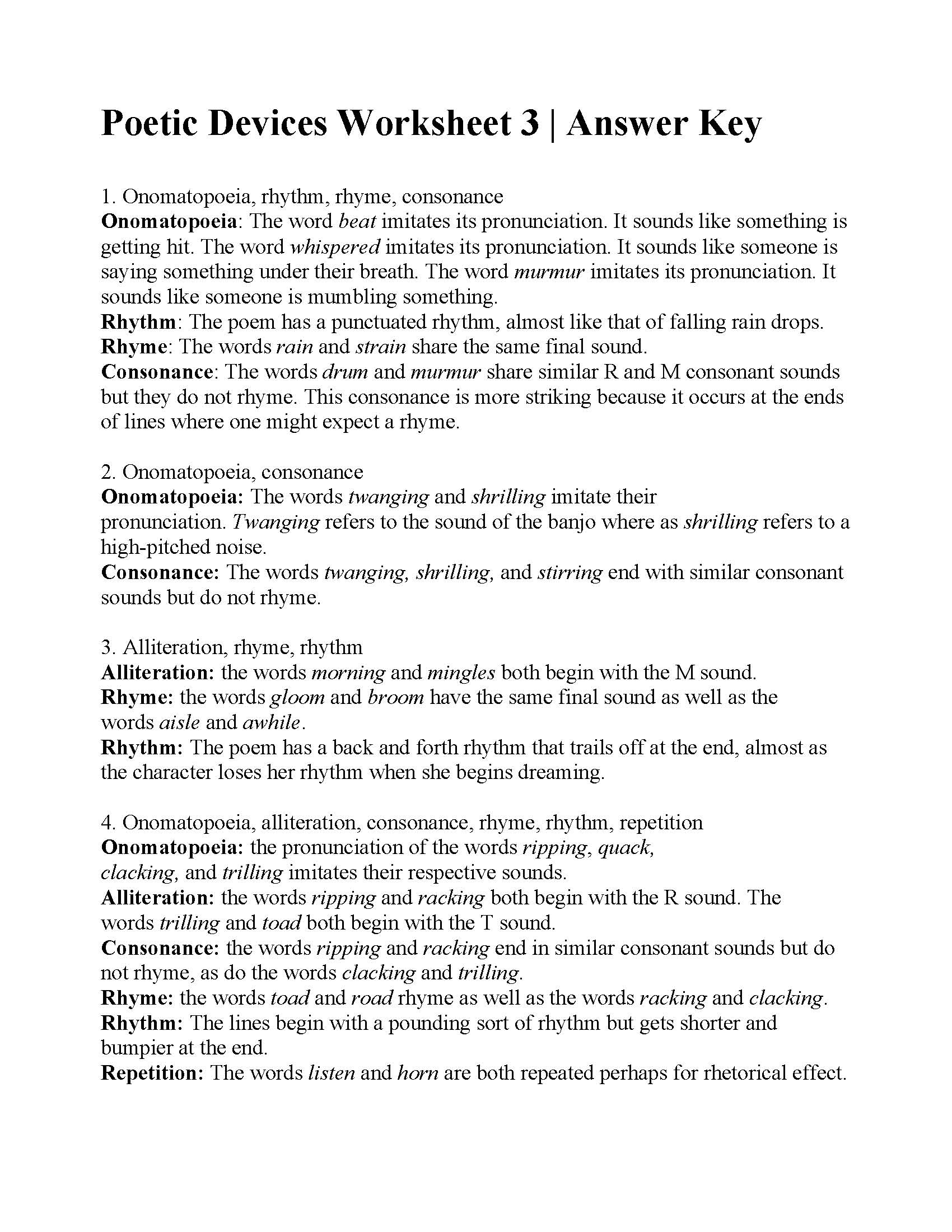 Figurative Language What Is It Worksheet Answers