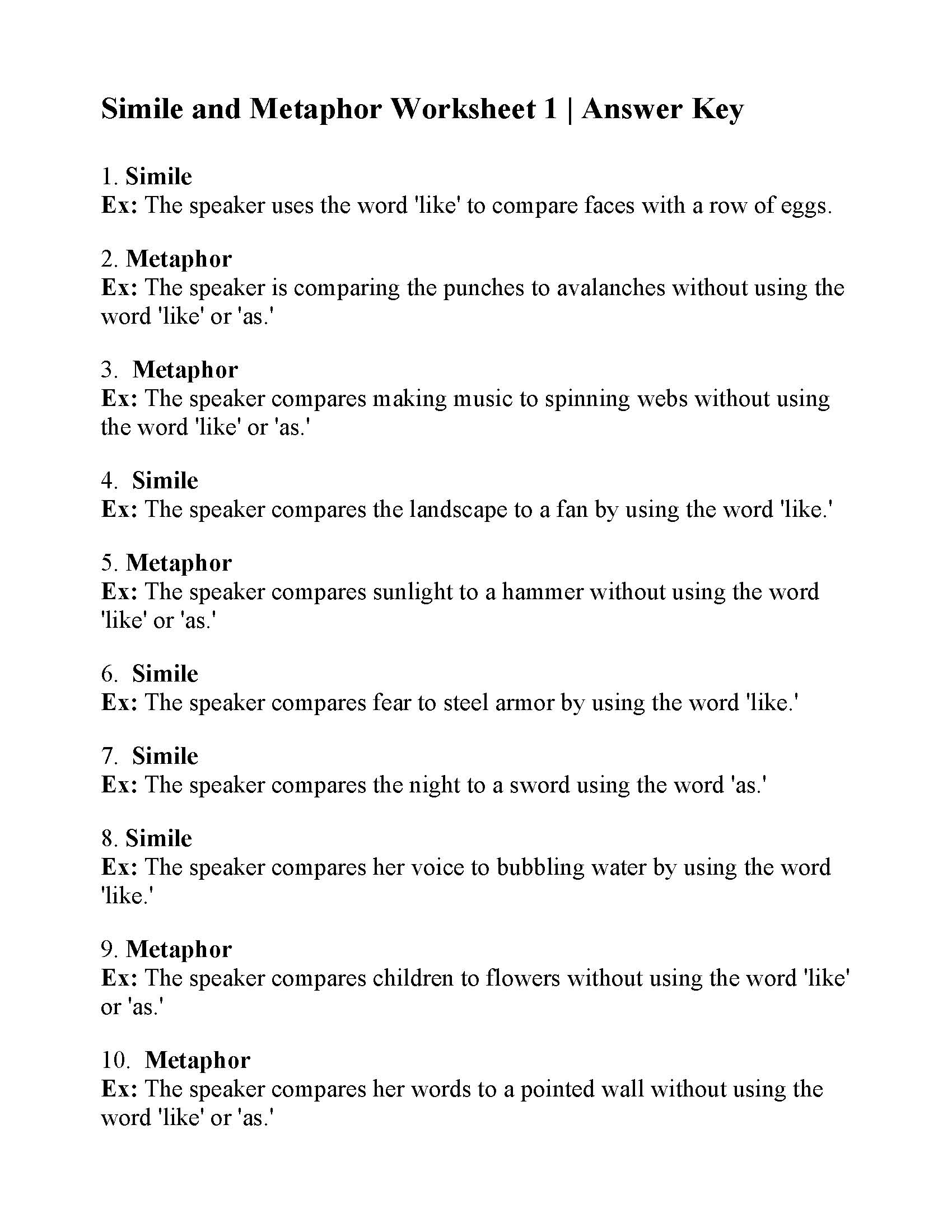 Simile And Metaphor Worksheet 1