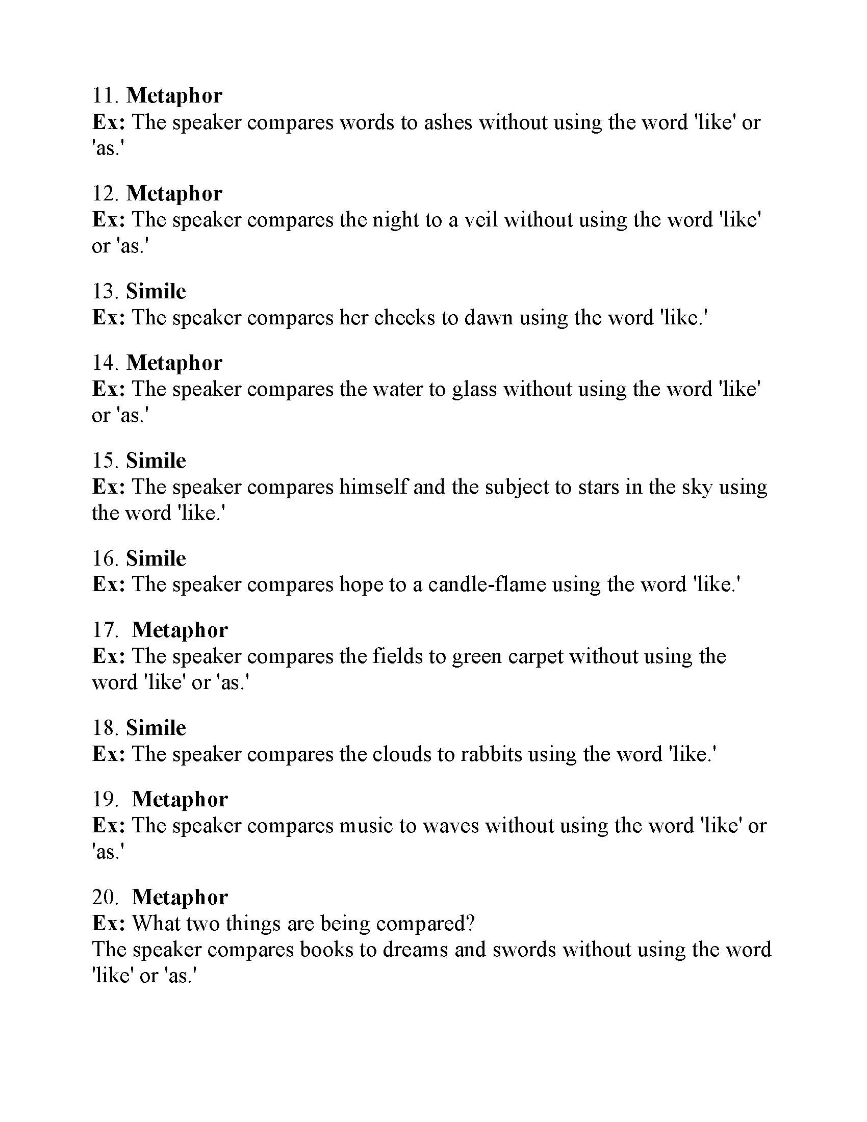 Simile And Metaphor Worksheet 1 Tutore