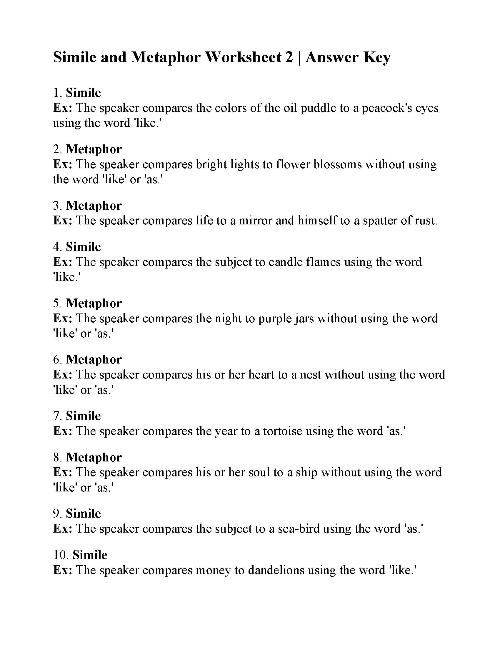 Simile Or Metaphor Worksheet