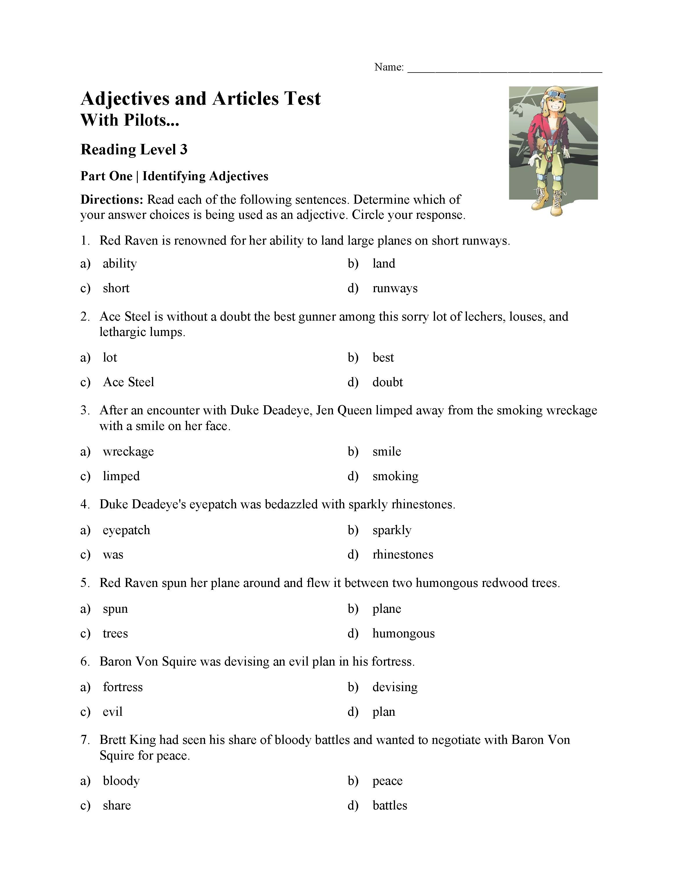 Printables Of 3 Adjectives