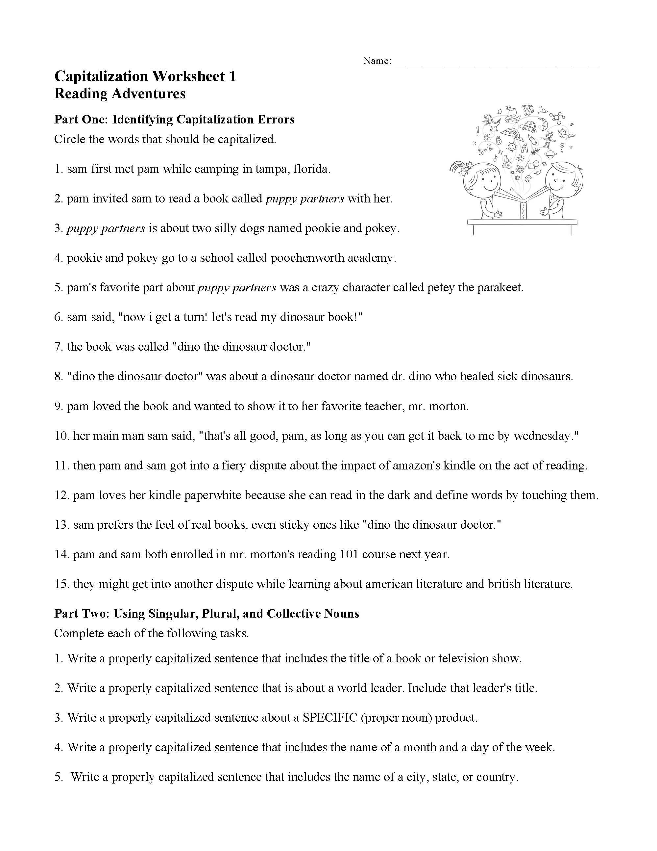 Capitalization Worksheet 1