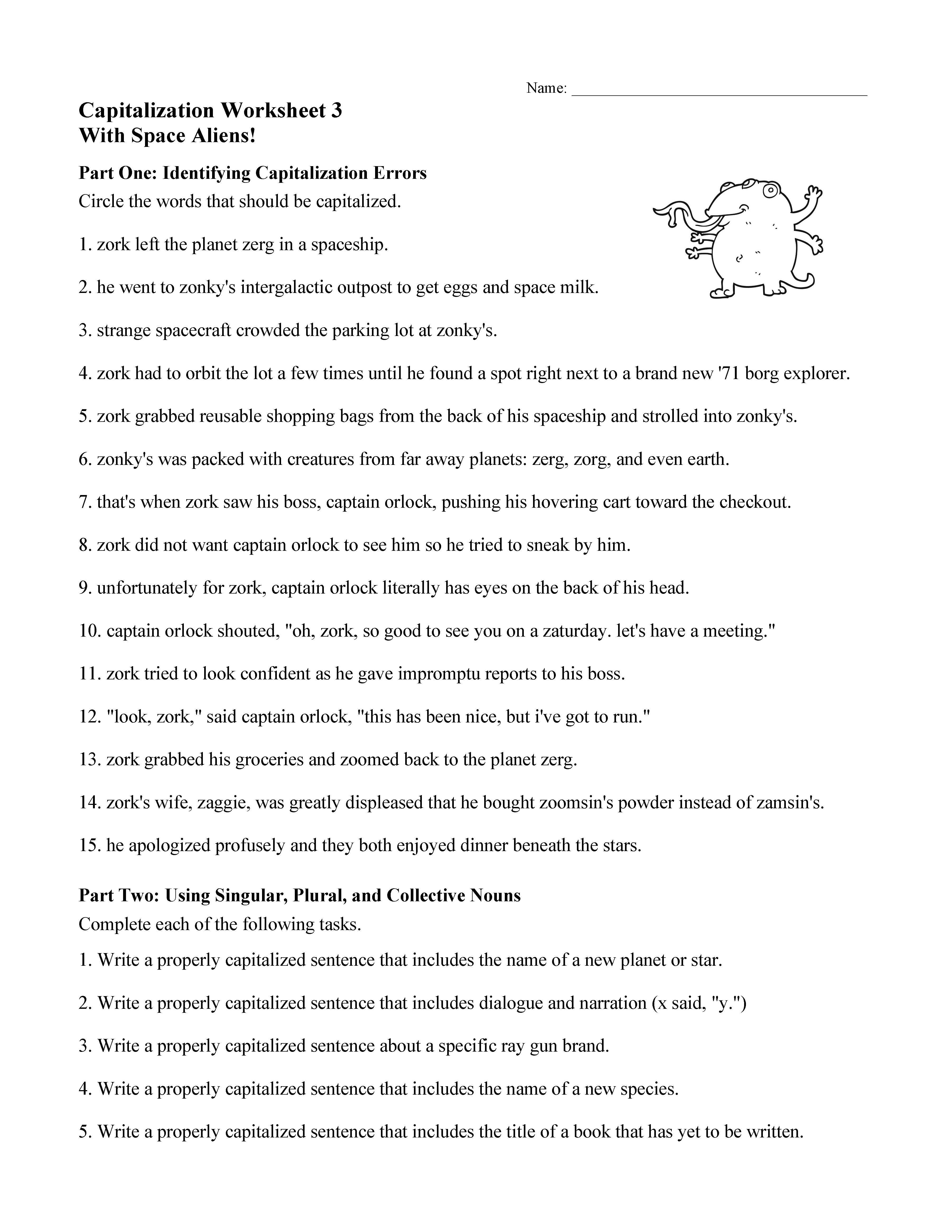 Capitalization Worksheet 3
