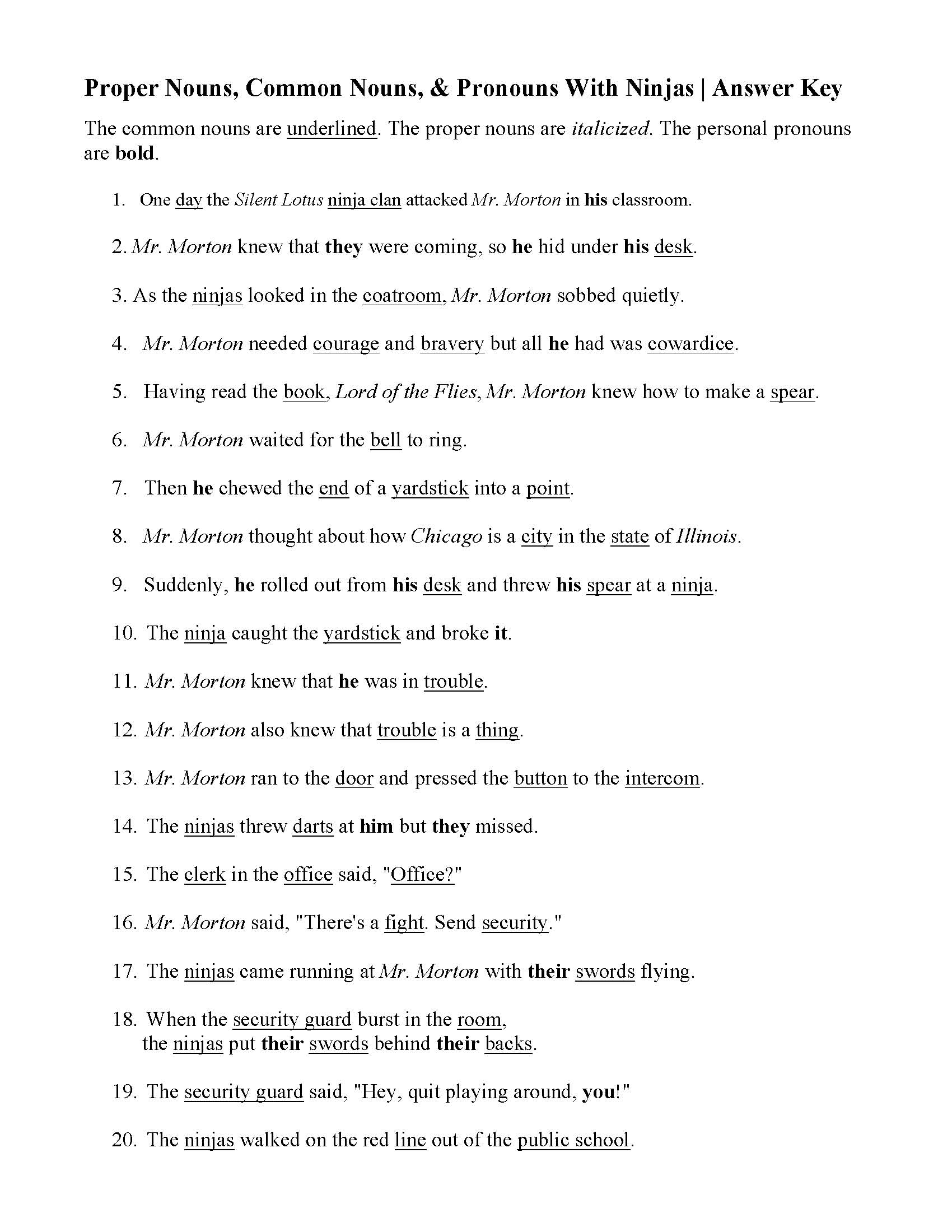 Proper Nouns Worksheet Answers