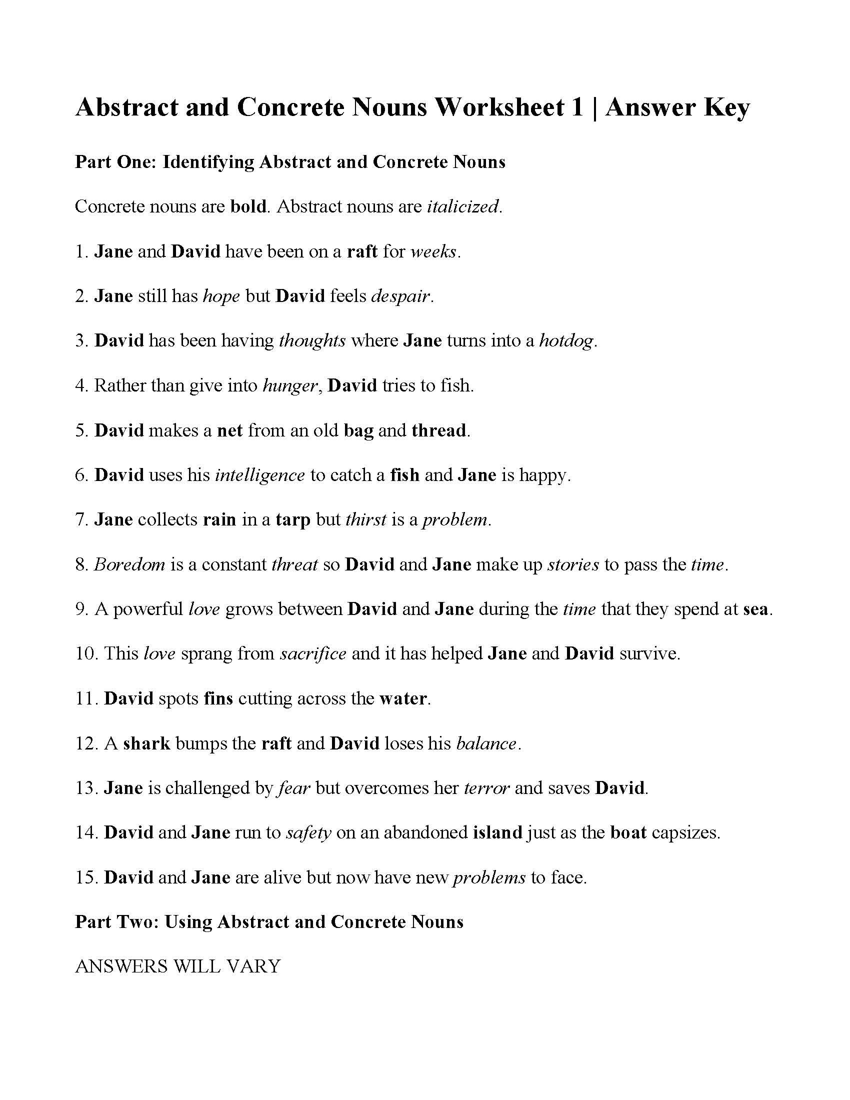 Concrete And Abstract Nouns Worksheet