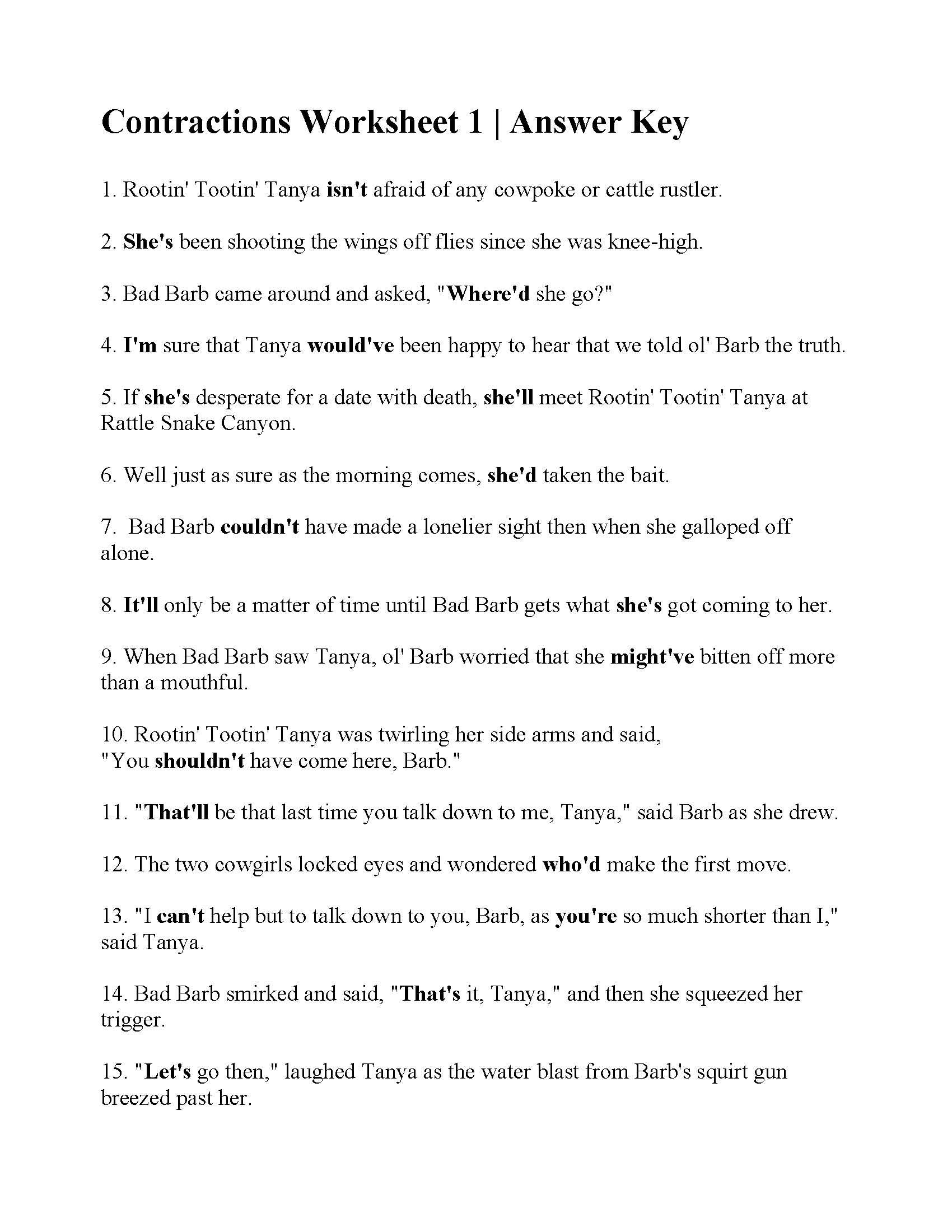 Contractions Worksheet 1