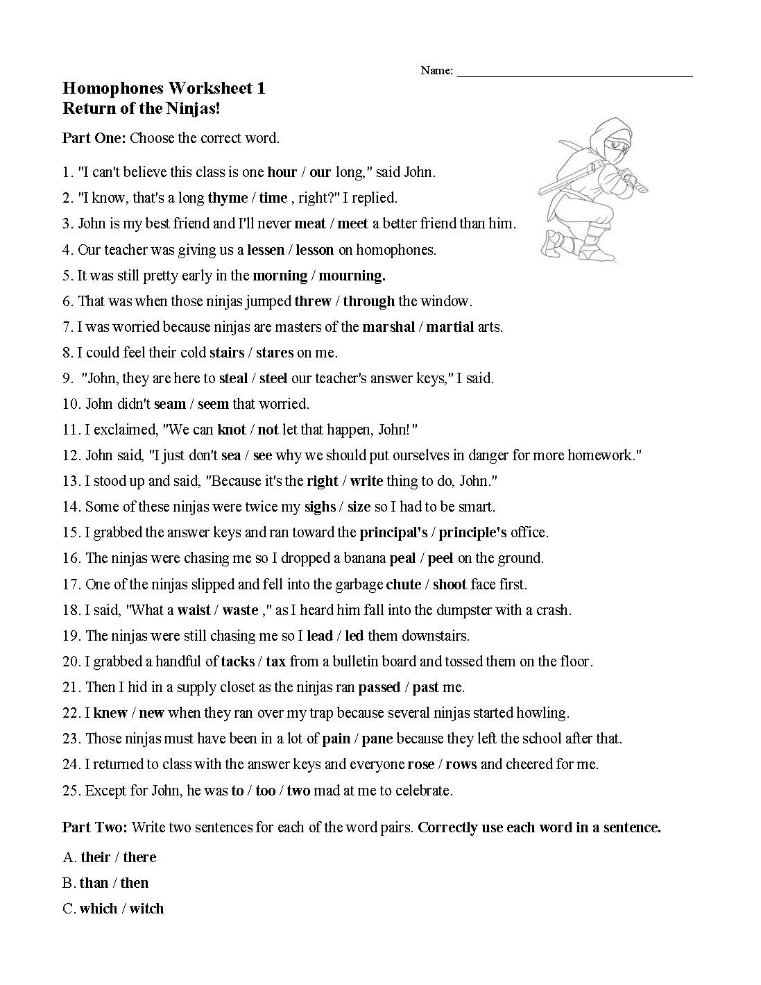 Homophones Worksheet 1