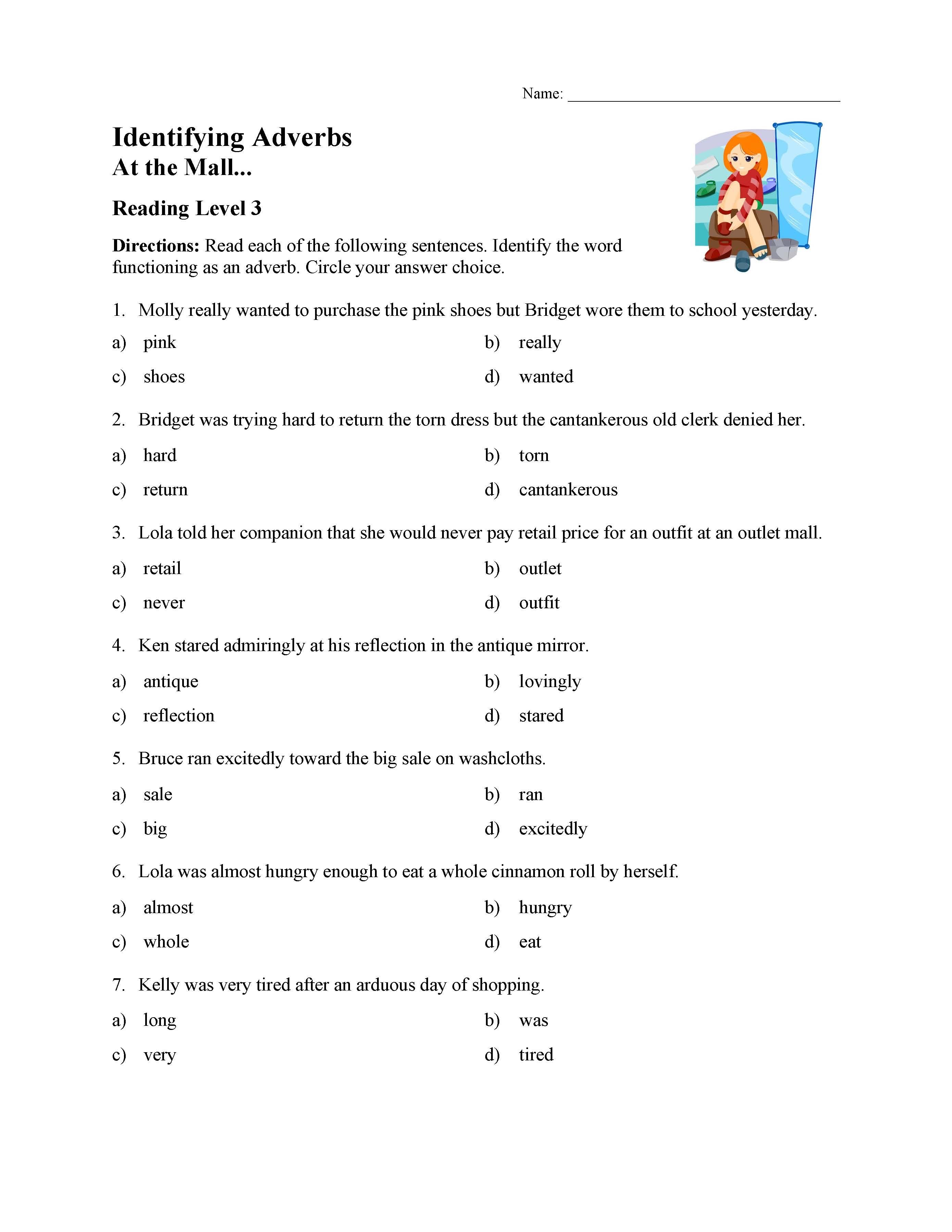 Identifying Adverbs Test
