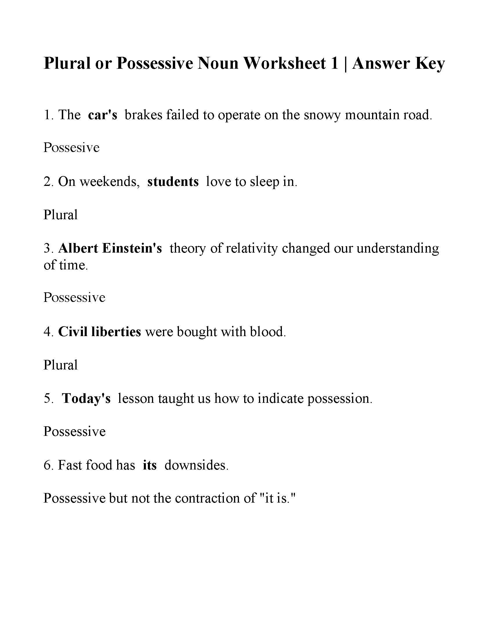 Plural Or Possessive Noun Worksheet