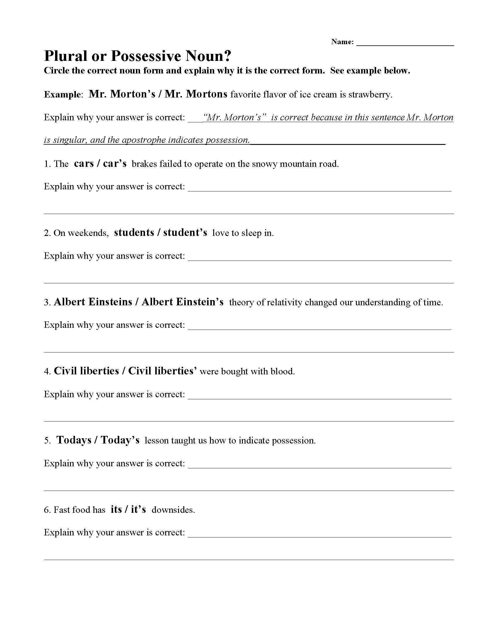 Worksheet On Possessive Nouns