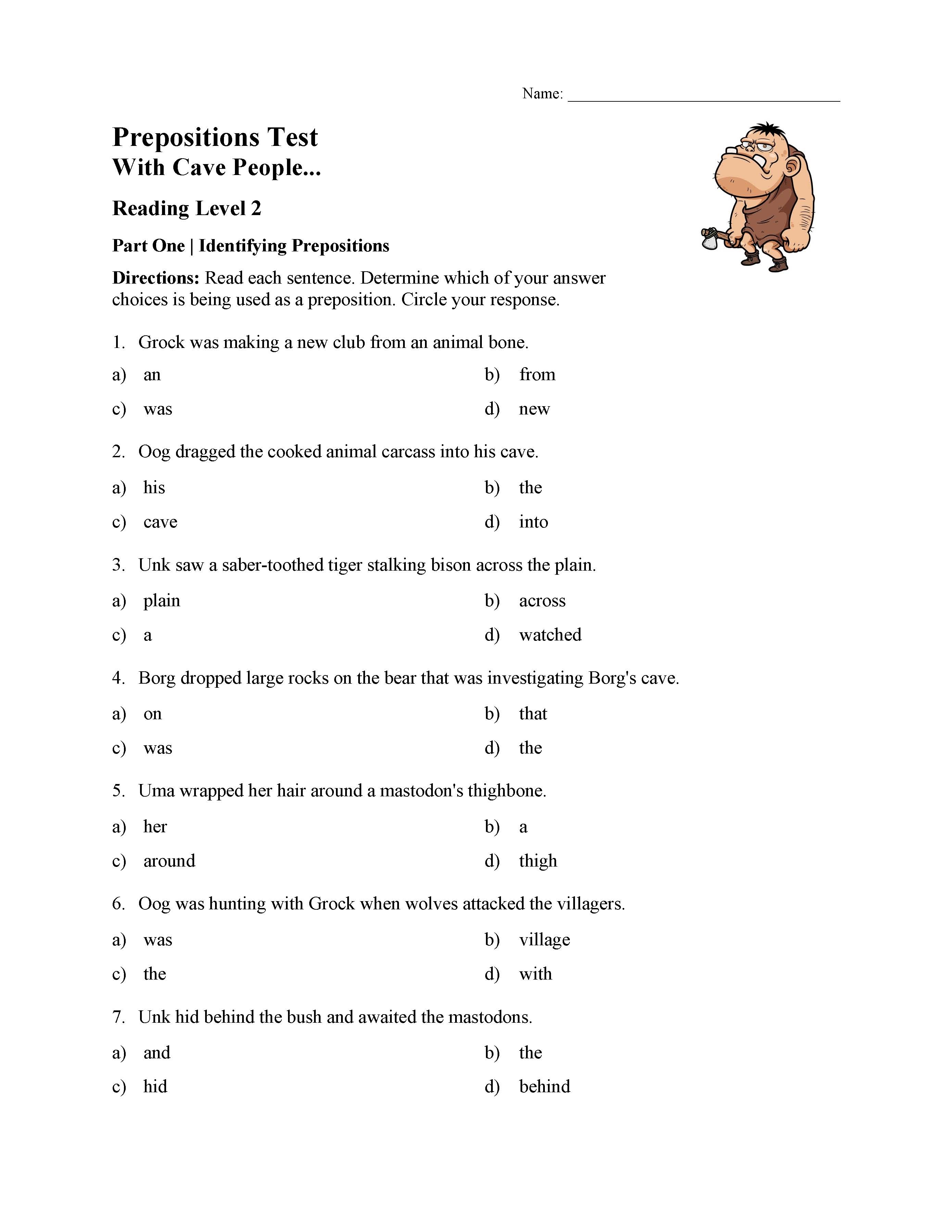 Prepositions Test 1