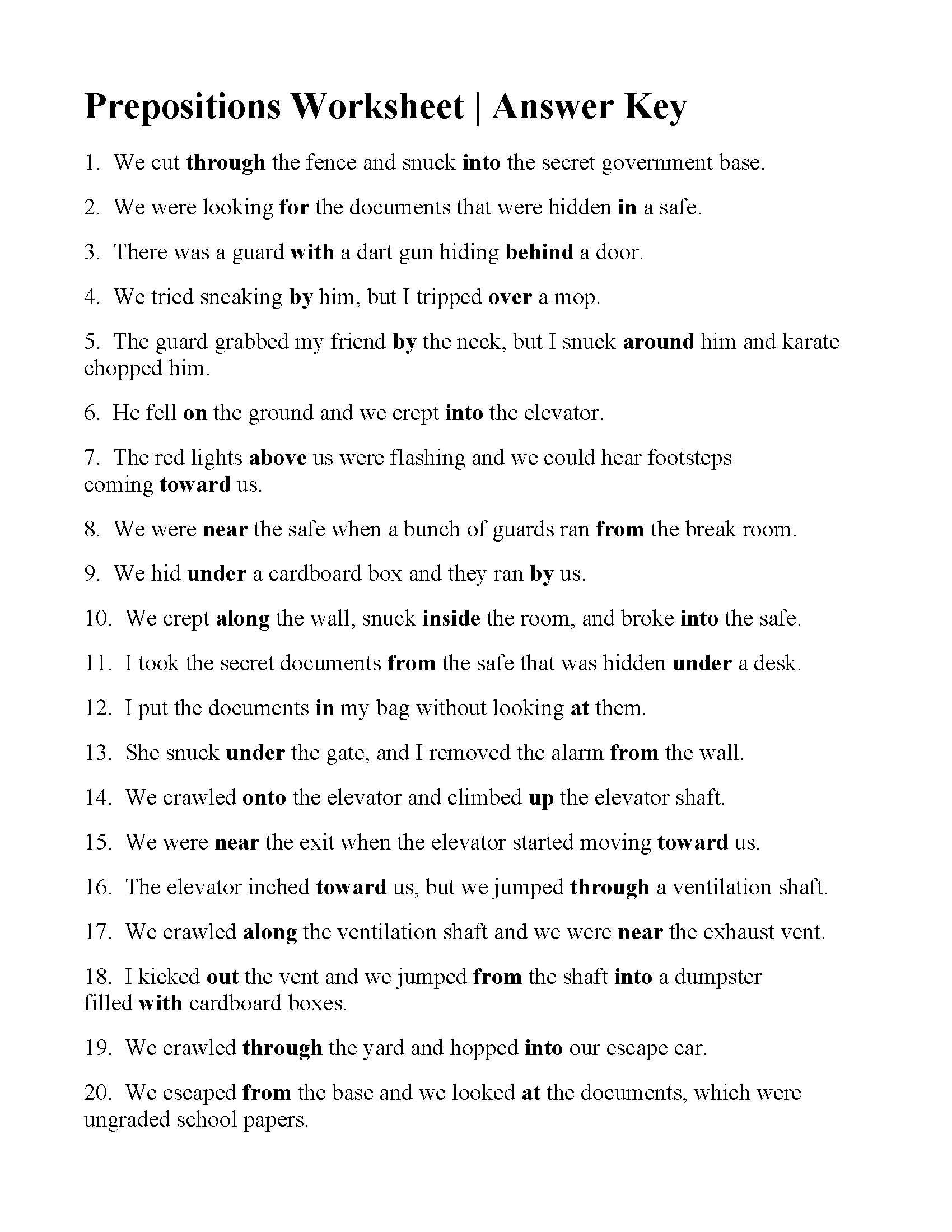 Worksheet Preposition