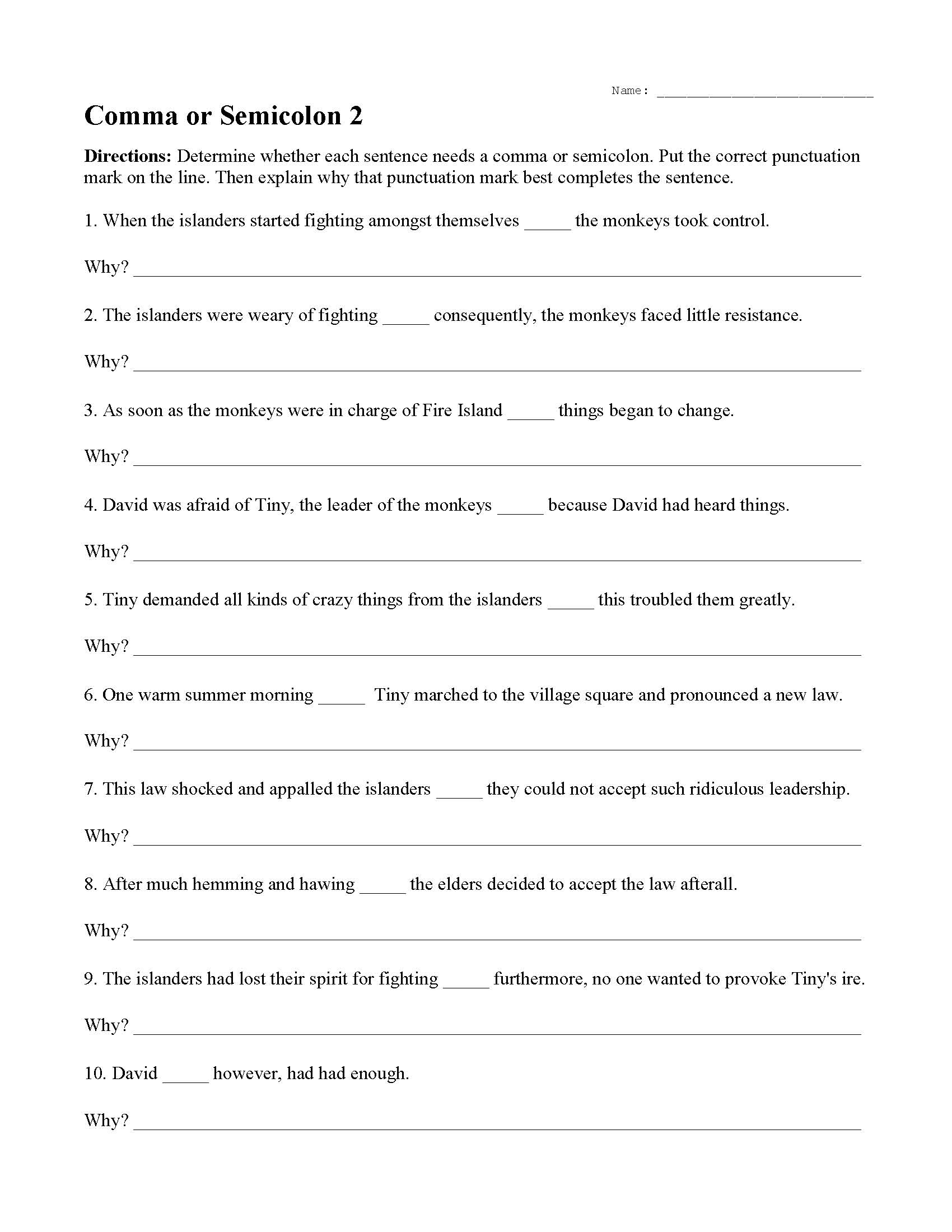 Colon And Semicolon Practice Worksheet