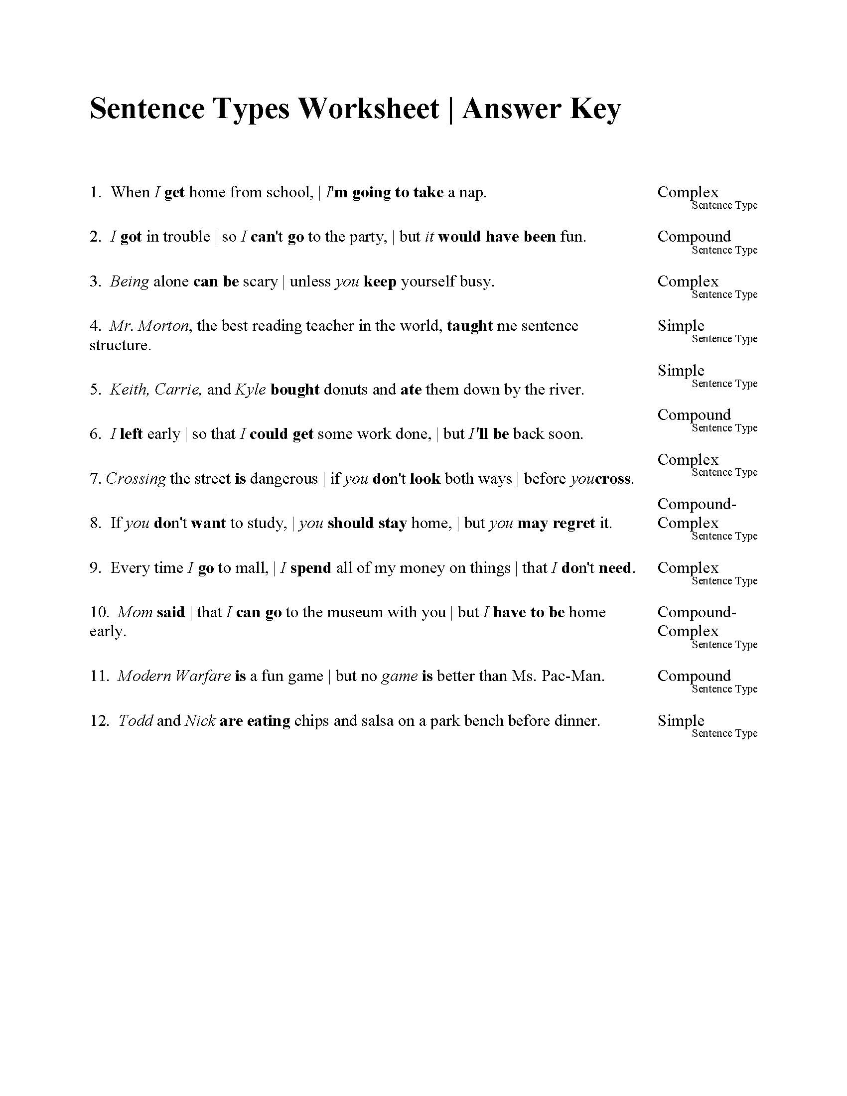 Sentences Types Worksheet