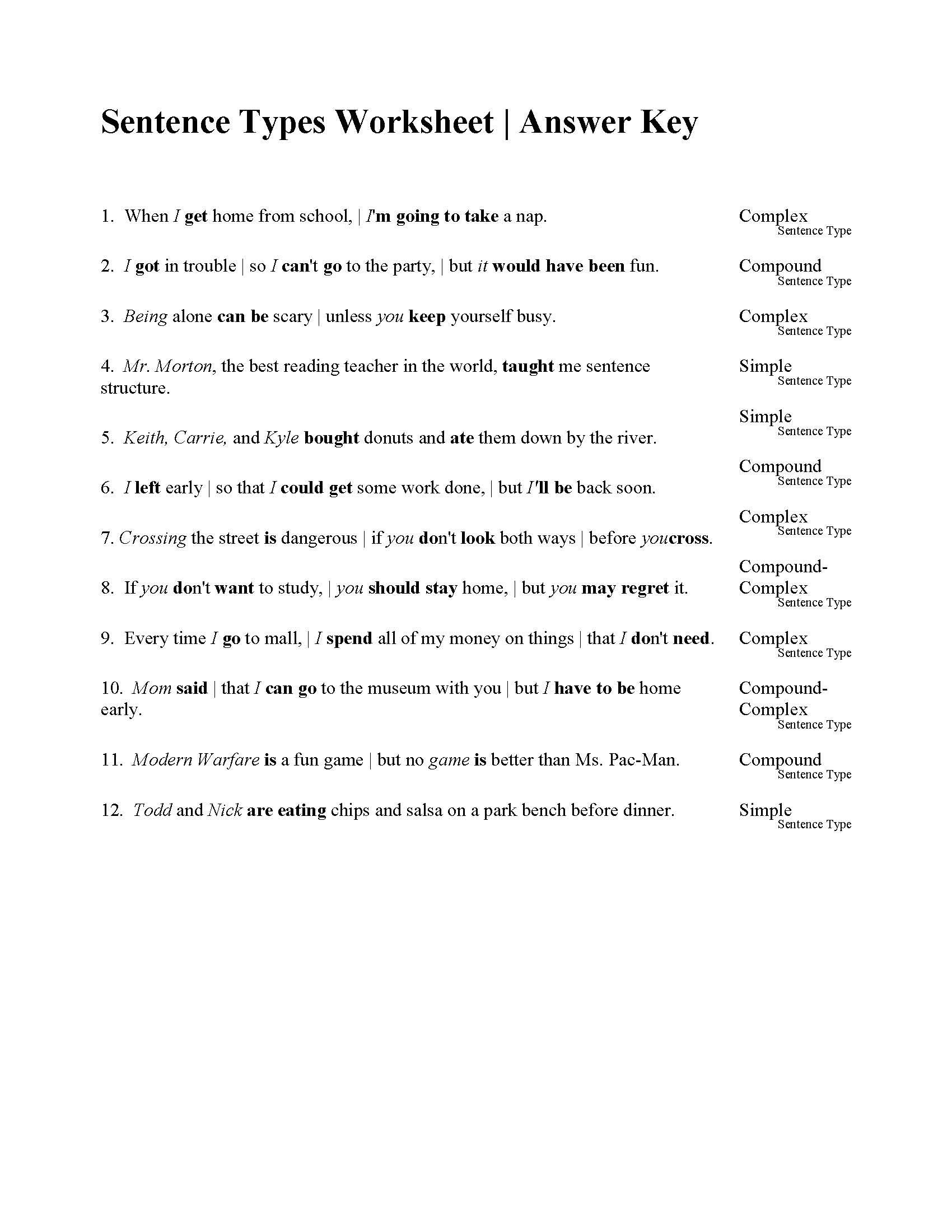 Kinds Of Sentences Worksheets For Grade 4