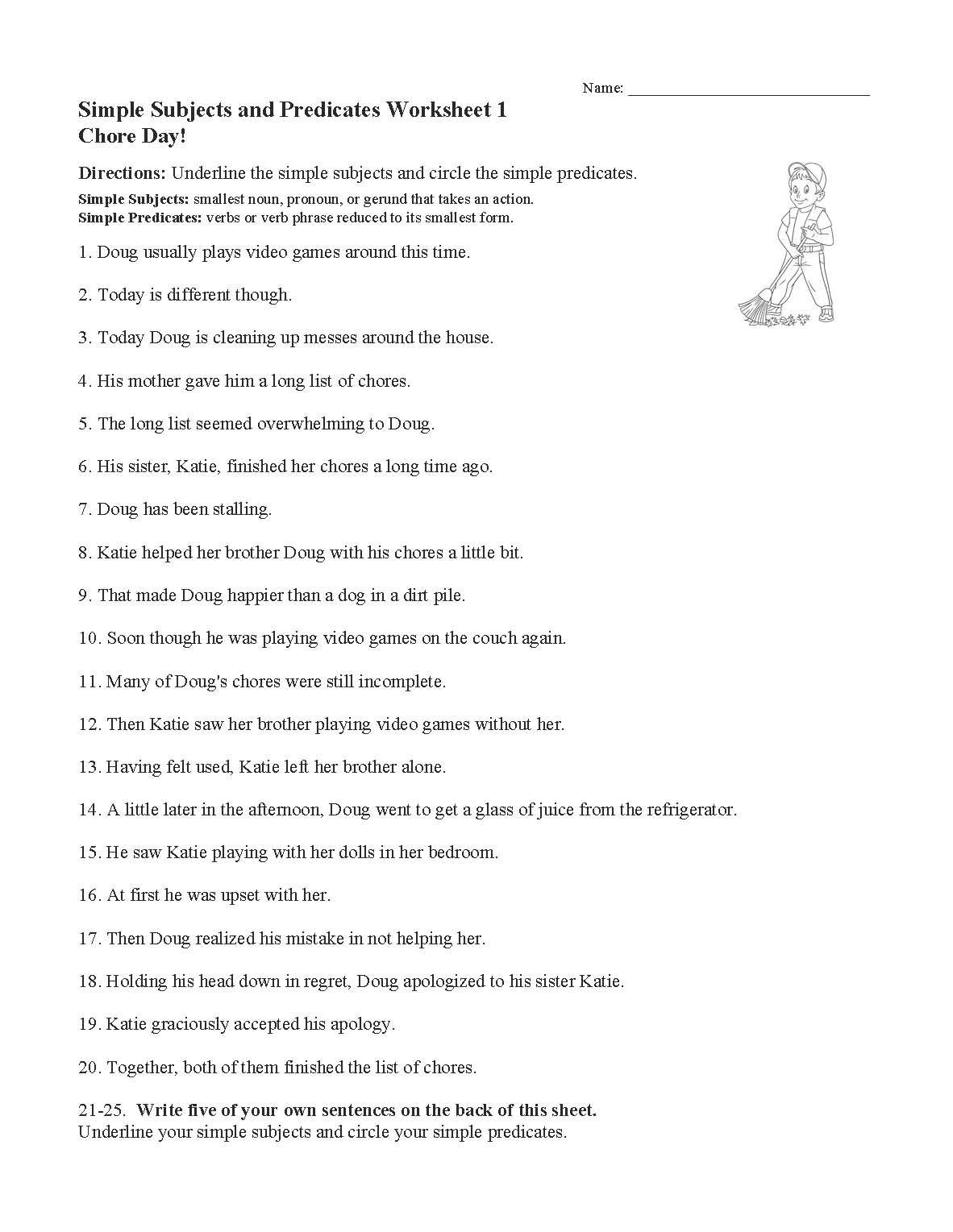 Simple Subjects And Predicates Worksheet 1