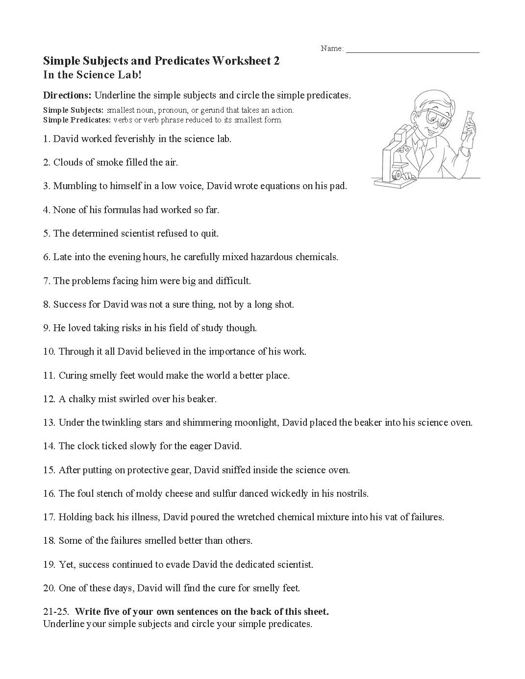 Simple Subjects And Predicates Worksheet 2