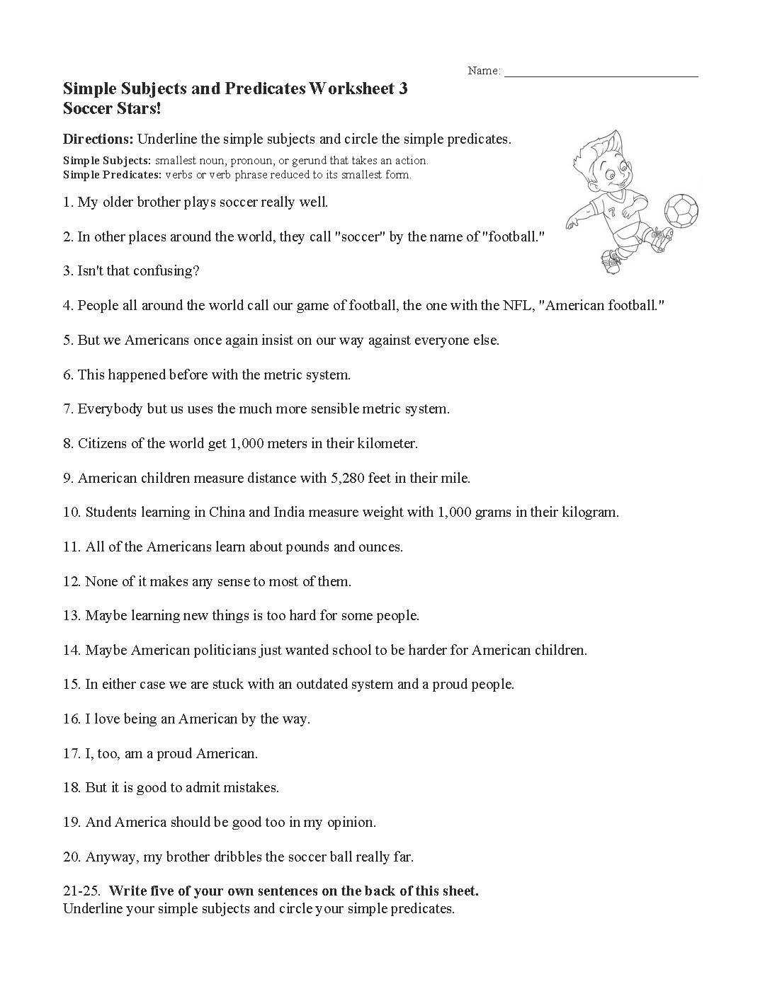 Simple Subjects And Predicates Worksheet 3