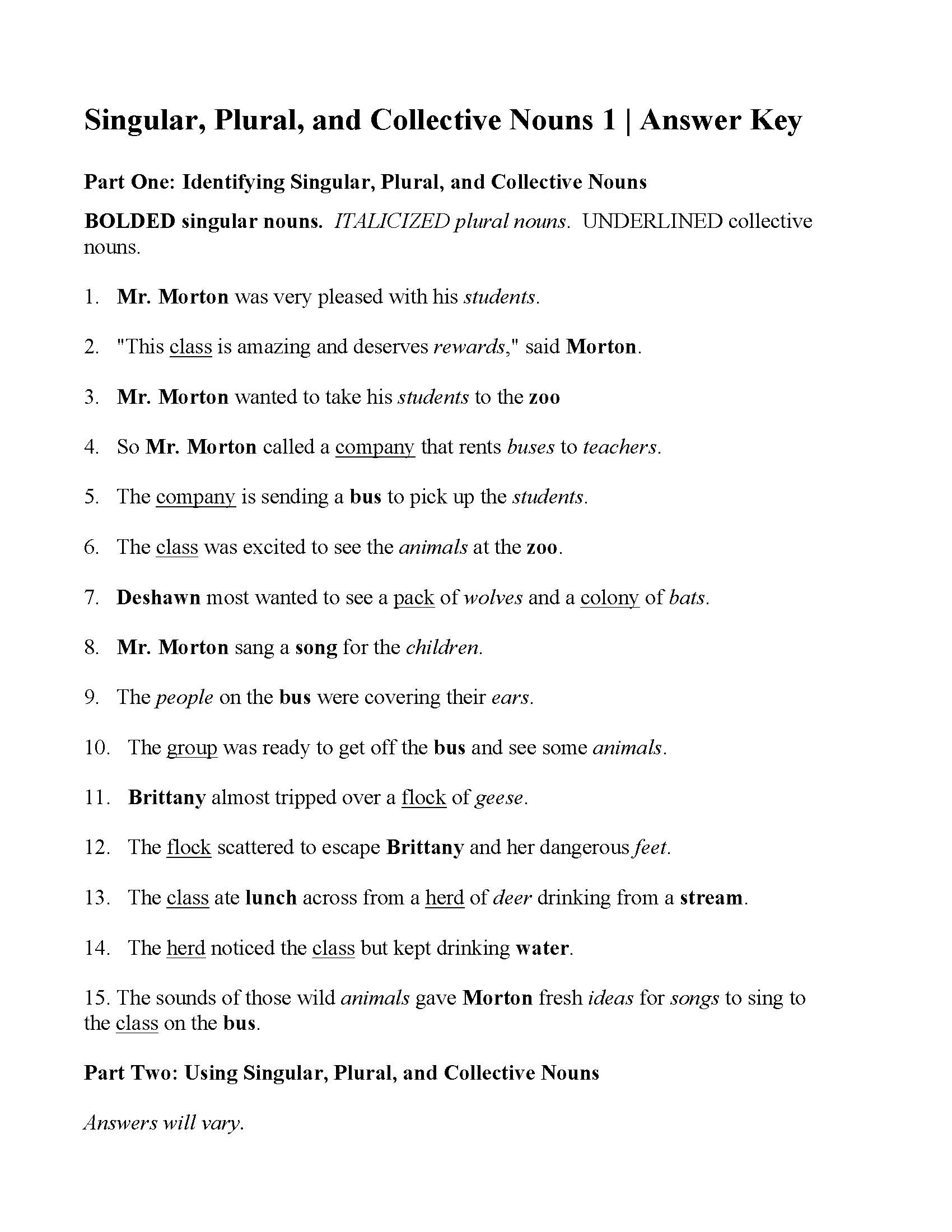 Singular And Plural Nouns Worksheets With Answer Key