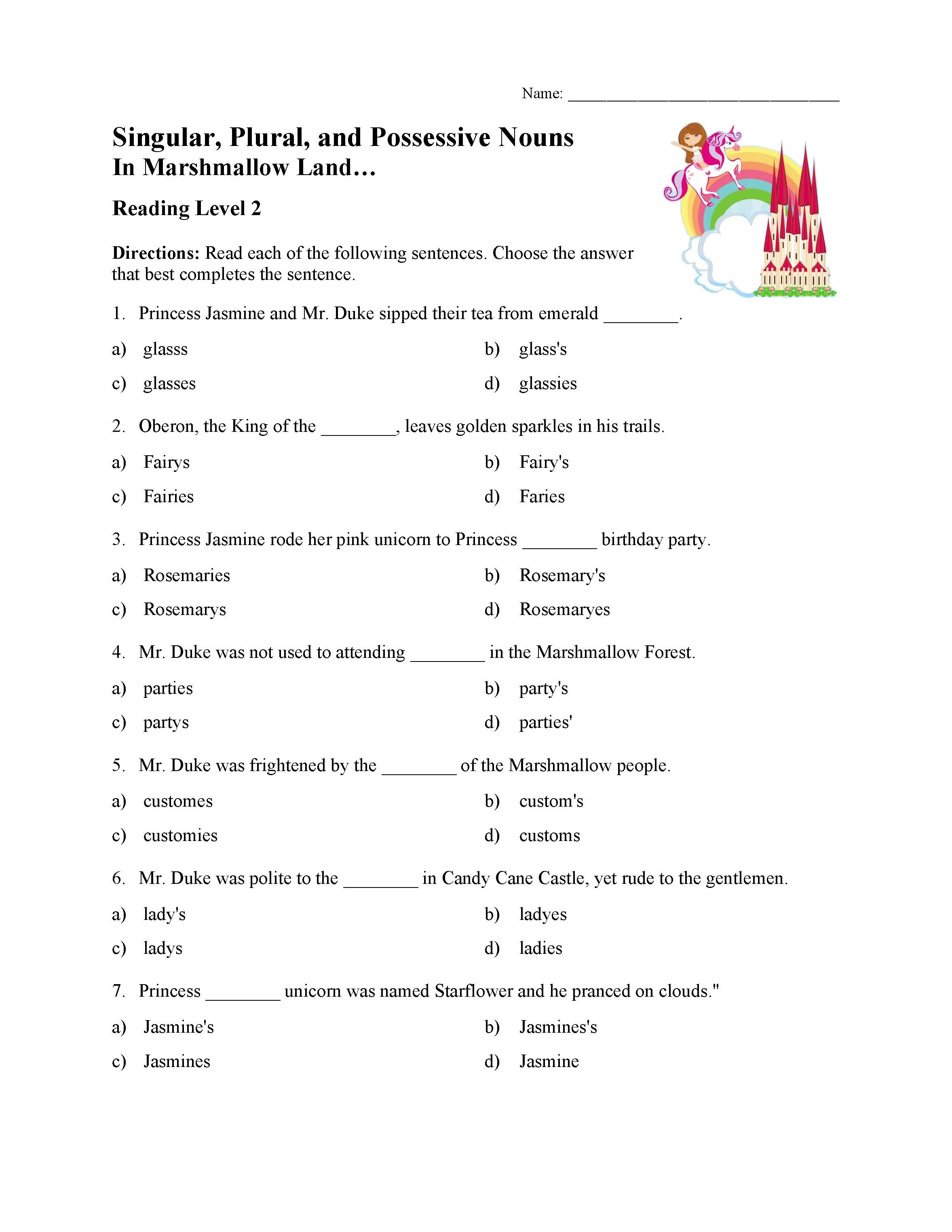 Possessive Nouns Worksheet Print