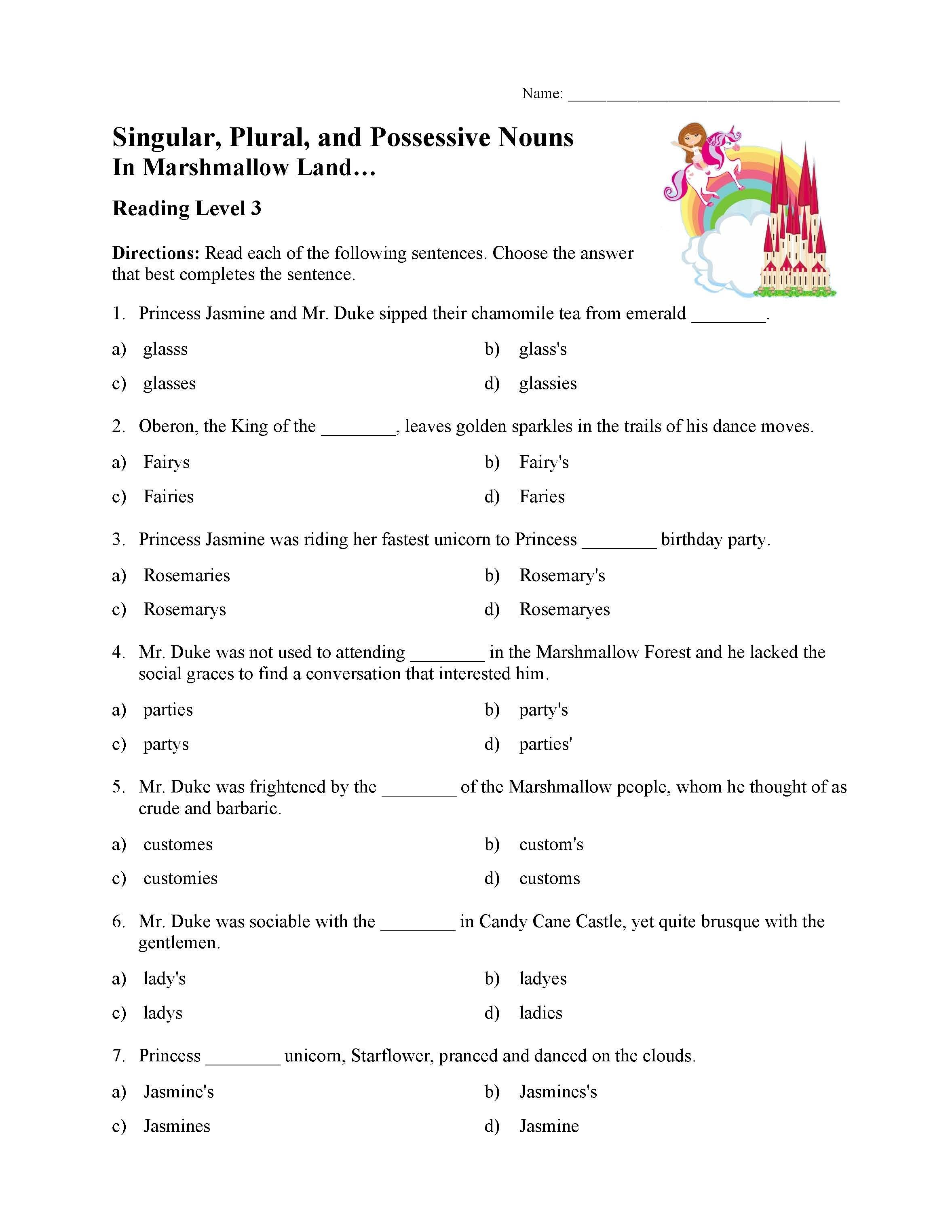 Singular Plural And Possessive Nouns Test 1