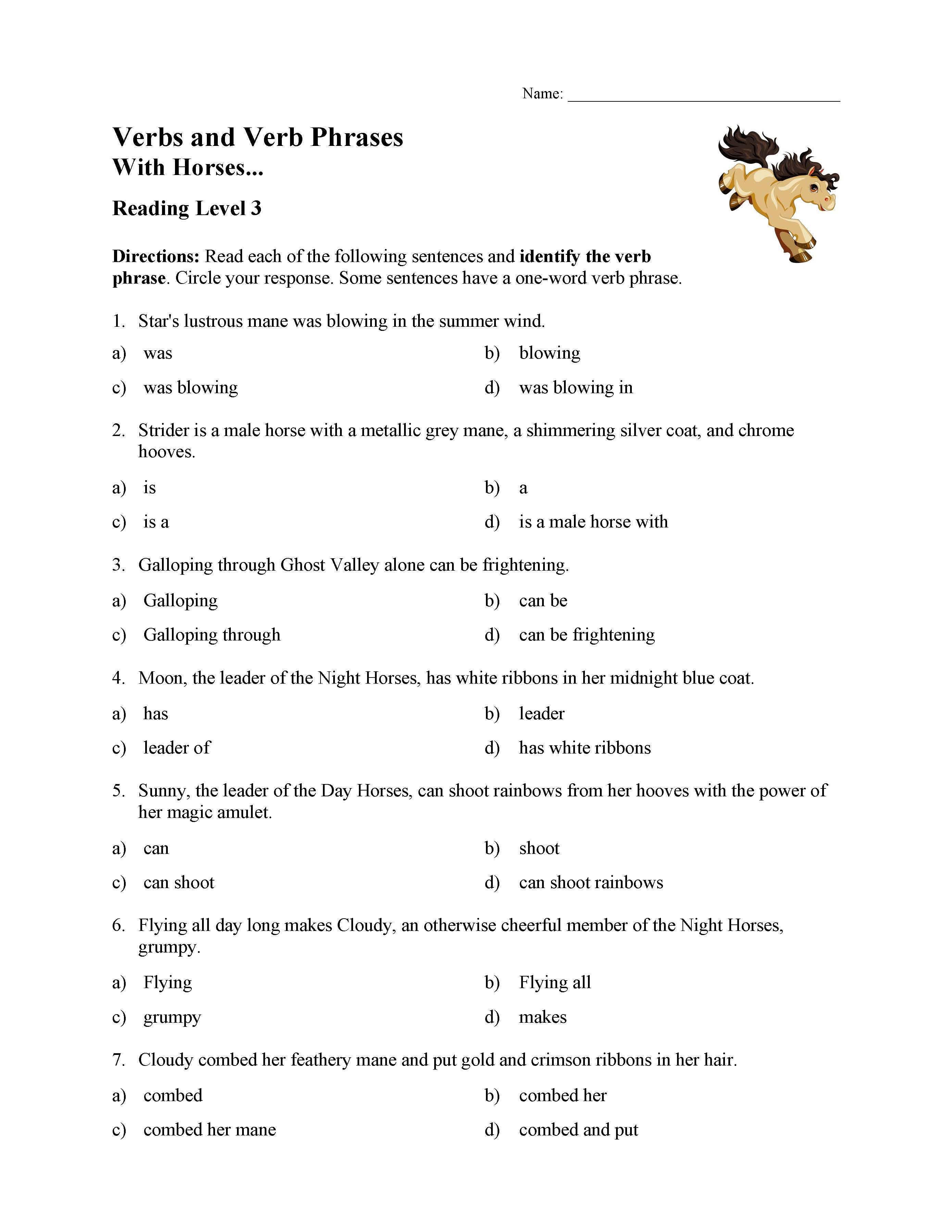 Verb Phrases Test