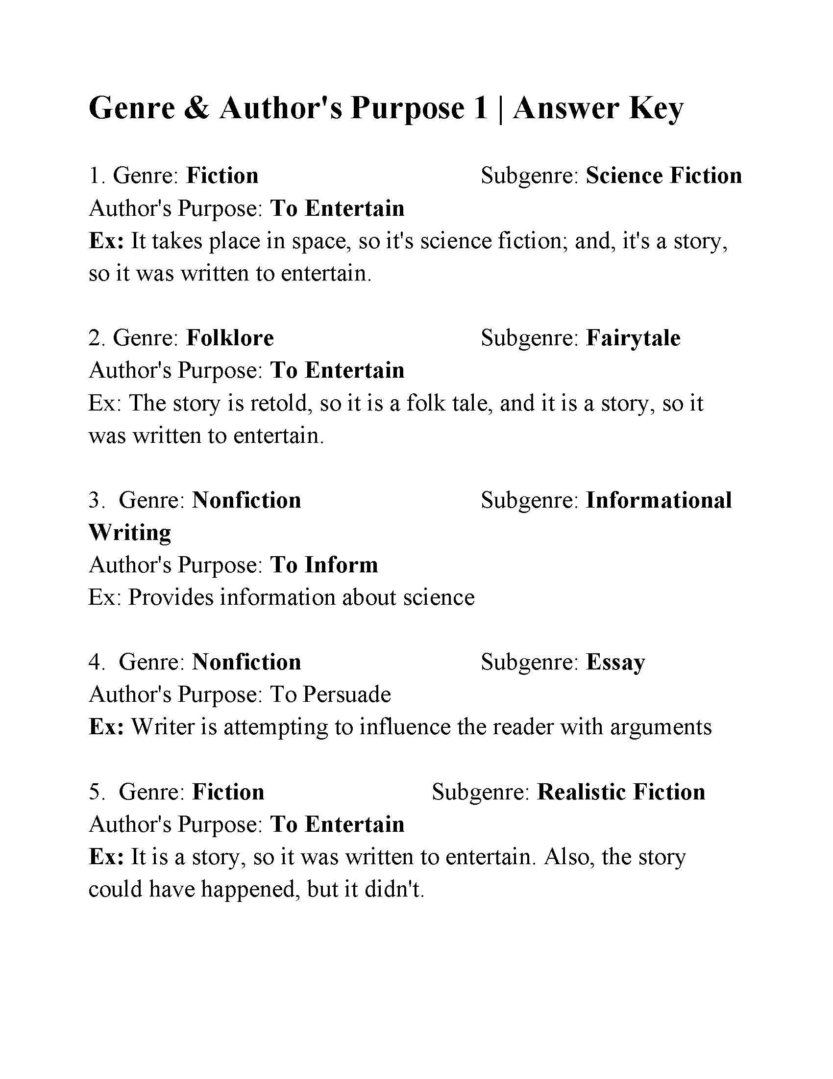 32 Genre Worksheet 1 Answers