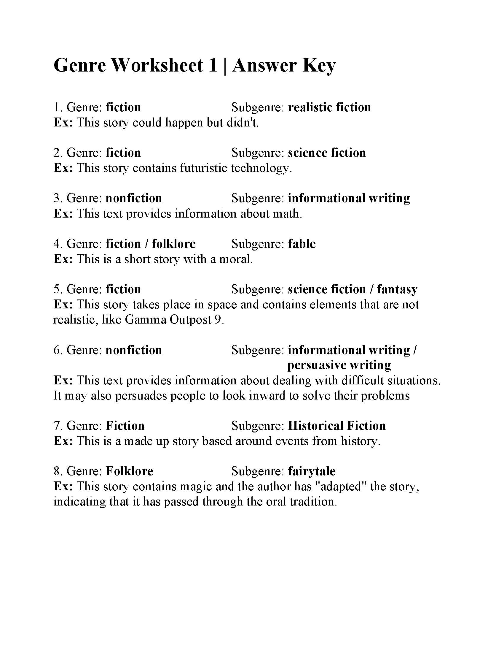 Genre And Subgenre Worksheet 6