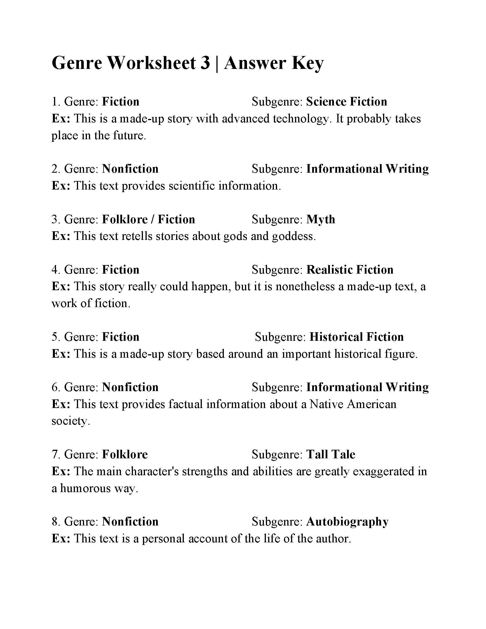 Genre And Subgenre Worksheet 6