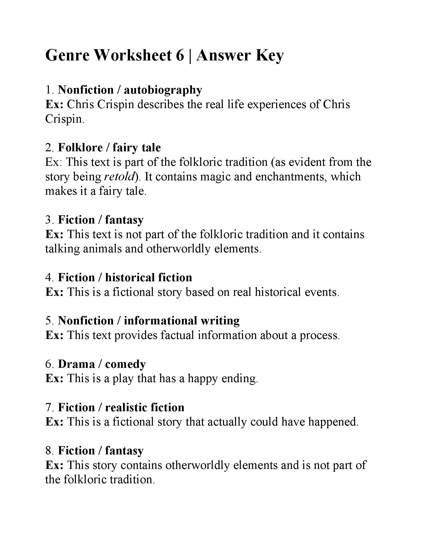 Genre Worksheet 6