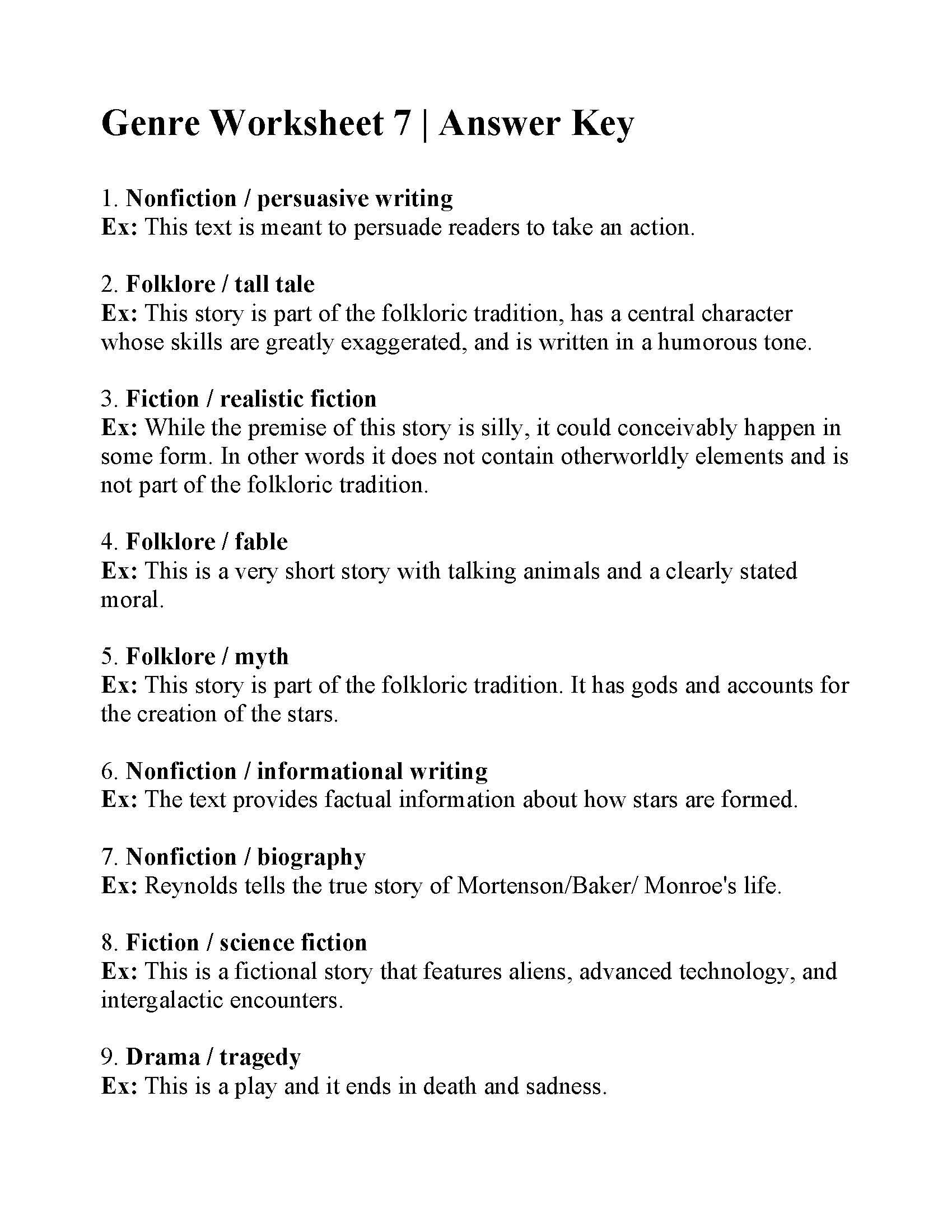 Genre Worksheet 7
