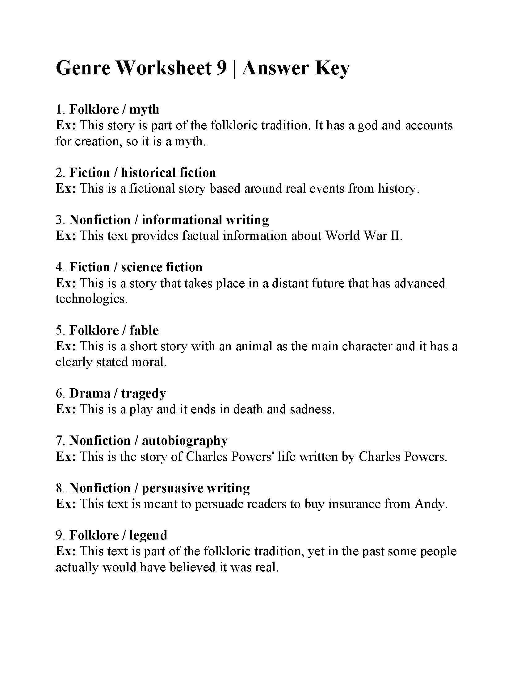 Genre Worksheet 9