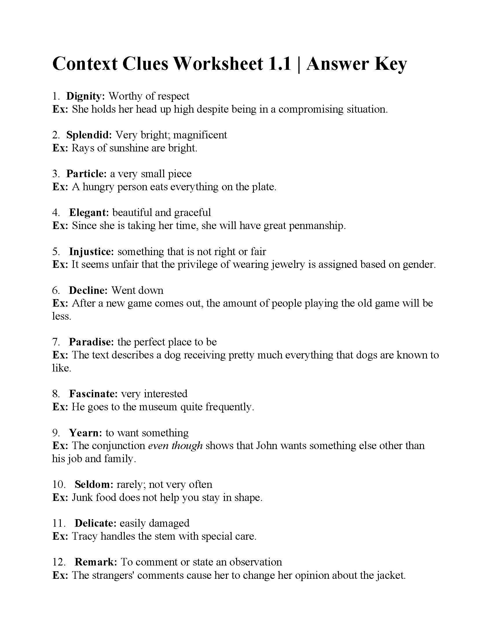 Context Clues Worksheet 1 1