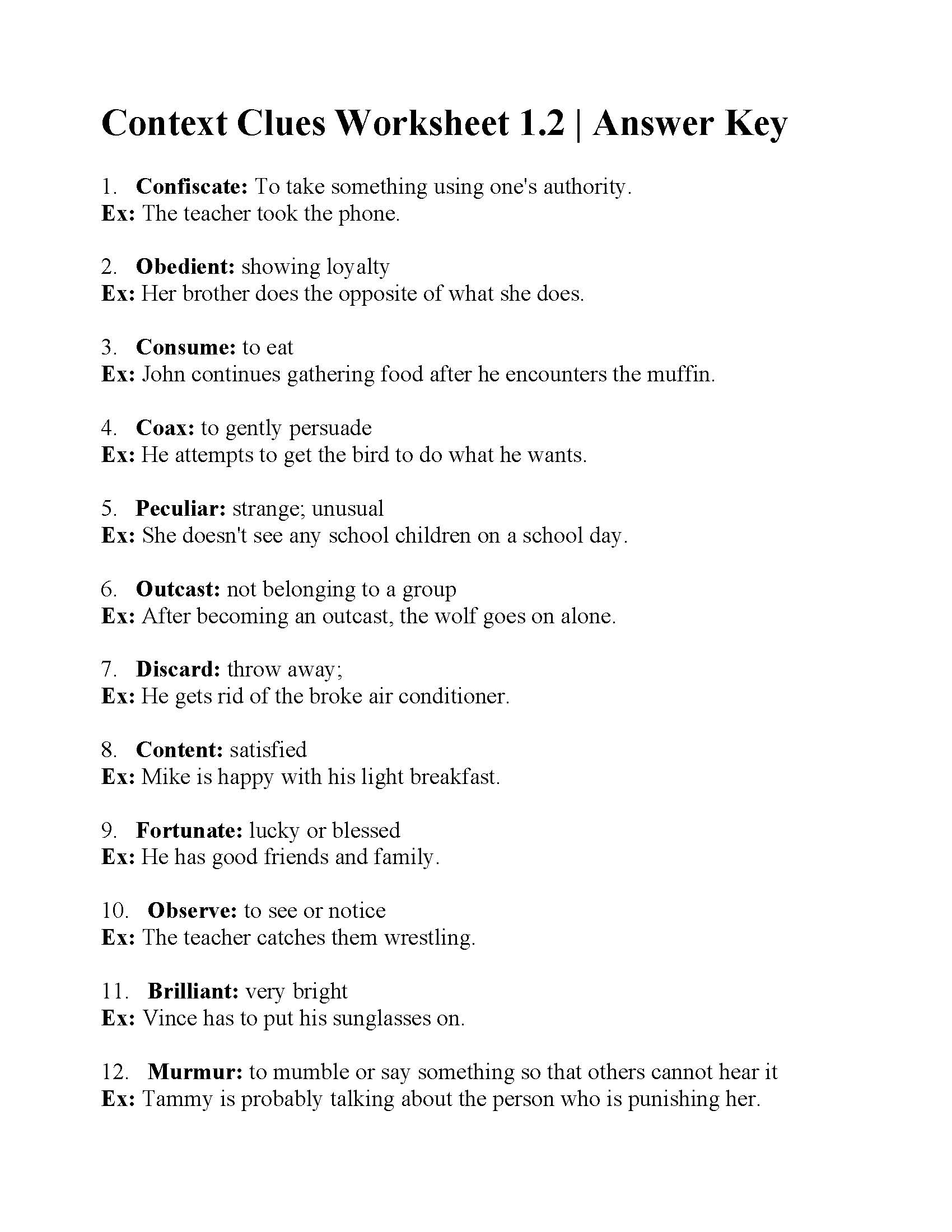 Context Clues Worksheet 1 2