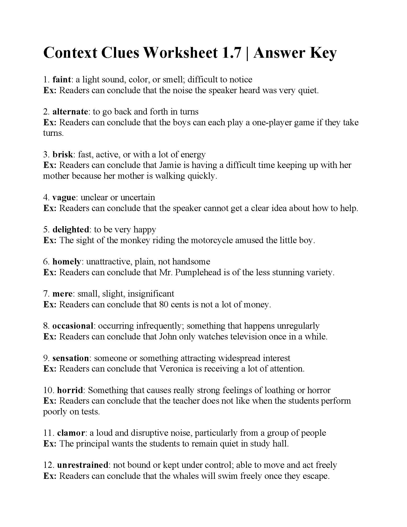 Context Clues Worksheet 1 7